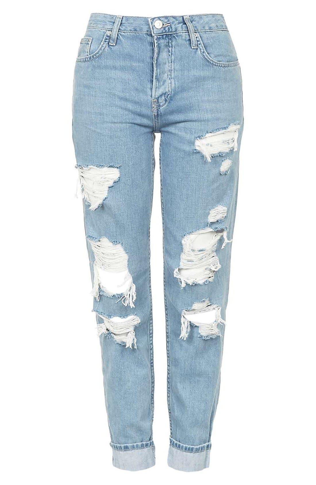 TOPSHOP, 'Hayden' Super Ripped Boyfriend Jeans, Alternate thumbnail 2, color, 420