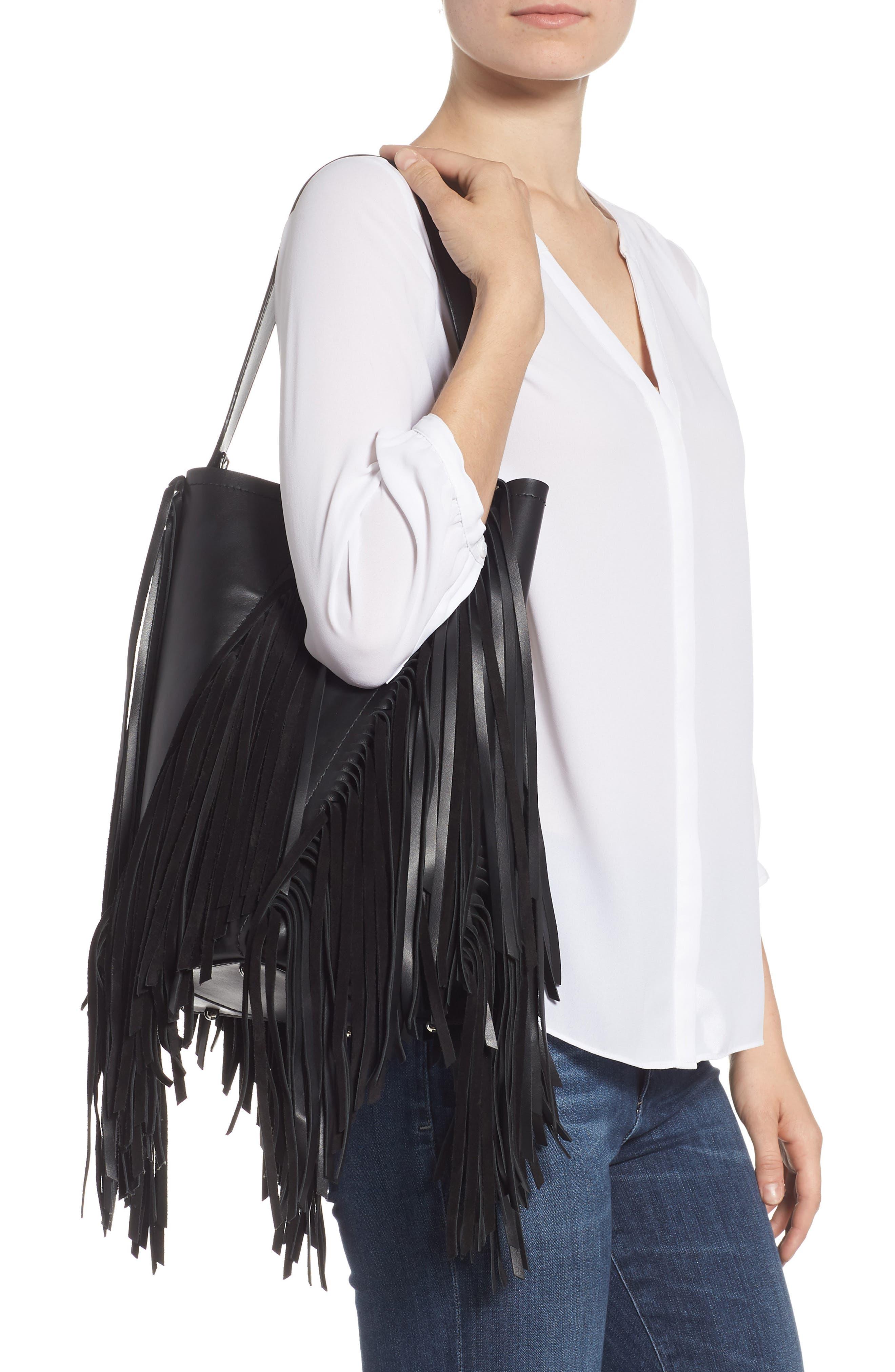 PROENZA SCHOULER, Medium Hex Fringe Calfskin Leather Bucket Bag, Alternate thumbnail 2, color, BLACK/ BLACK