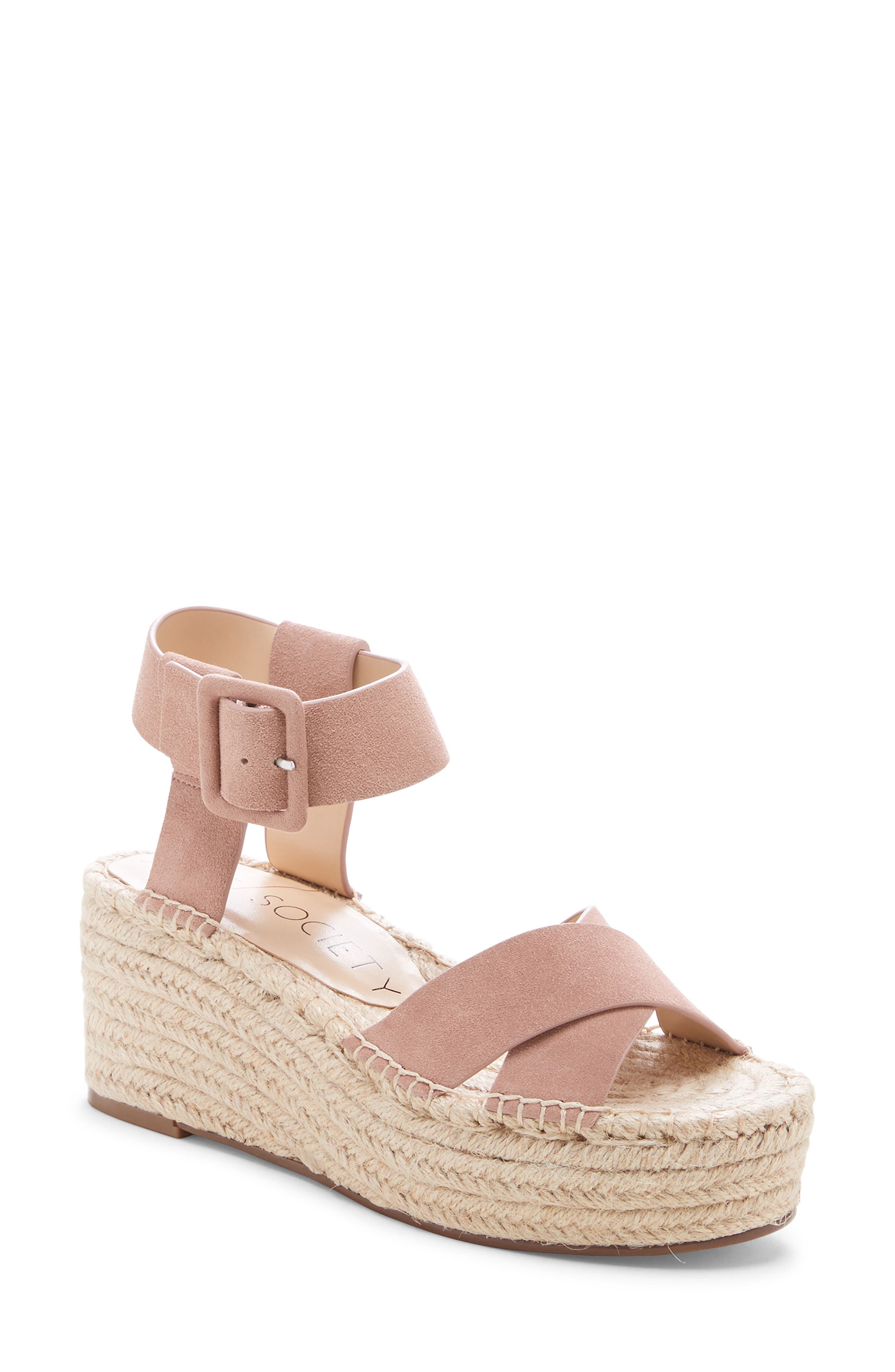 SOLE SOCIETY Audrina Platform Espadrille Sandal, Main, color, DUSTY ROSE SUEDE