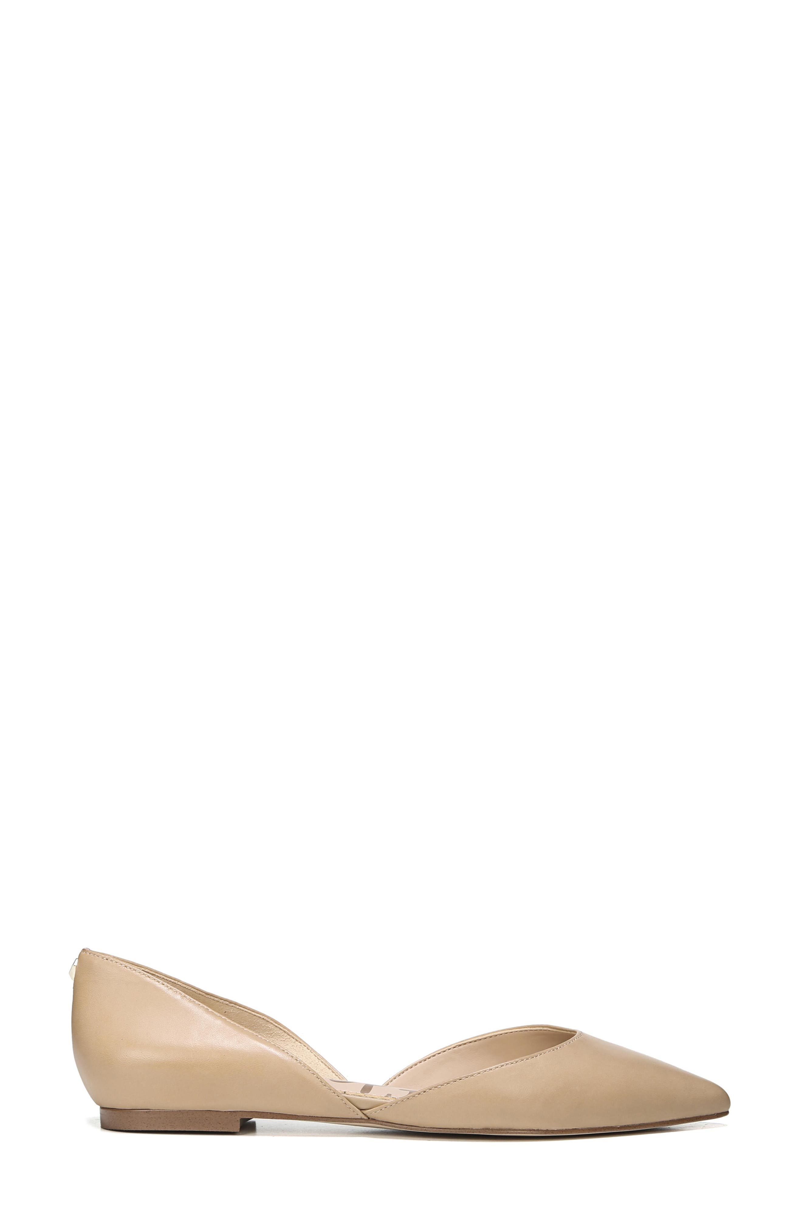 SAM EDELMAN, Rodney Pointy Toe d'Orsay Flat, Alternate thumbnail 3, color, CLASSIC NUDE LEATHER