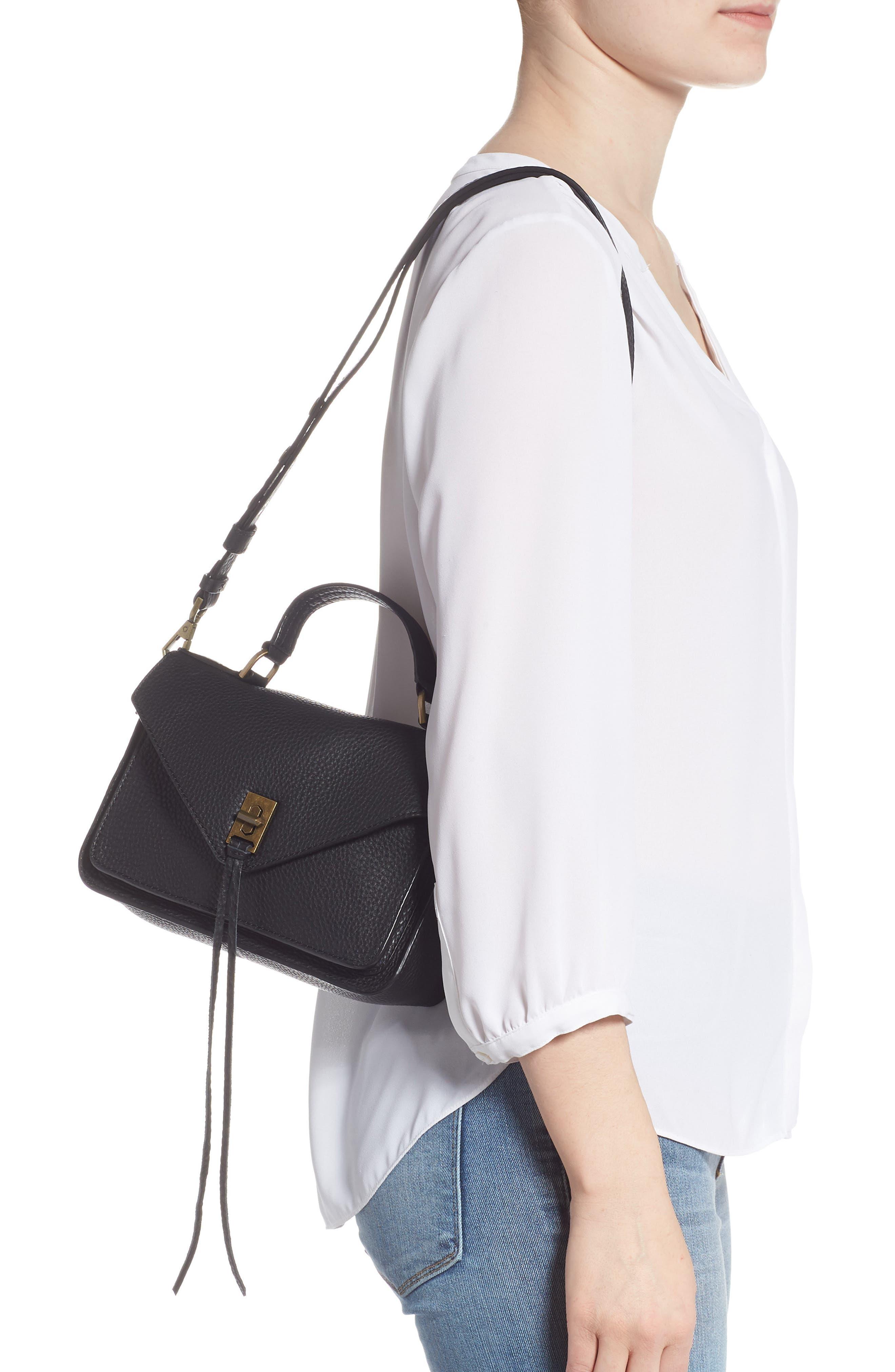 REBECCA MINKOFF, 'Small Darren' Leather Messenger Bag, Alternate thumbnail 2, color, BLACK