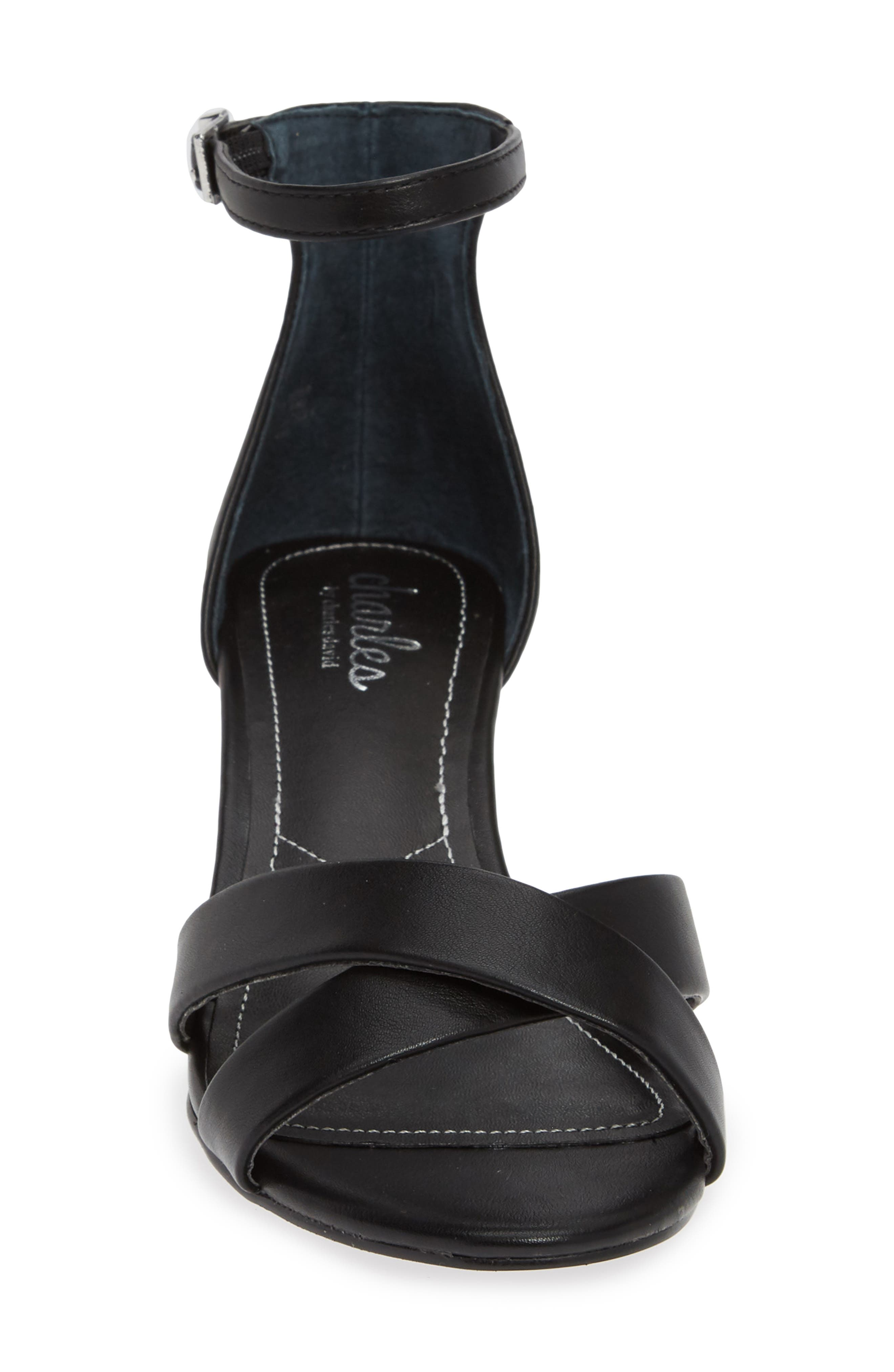 CHARLES BY CHARLES DAVID, Griffin Ankle Strap Wedge, Alternate thumbnail 4, color, BLACK FAUX LEATHER