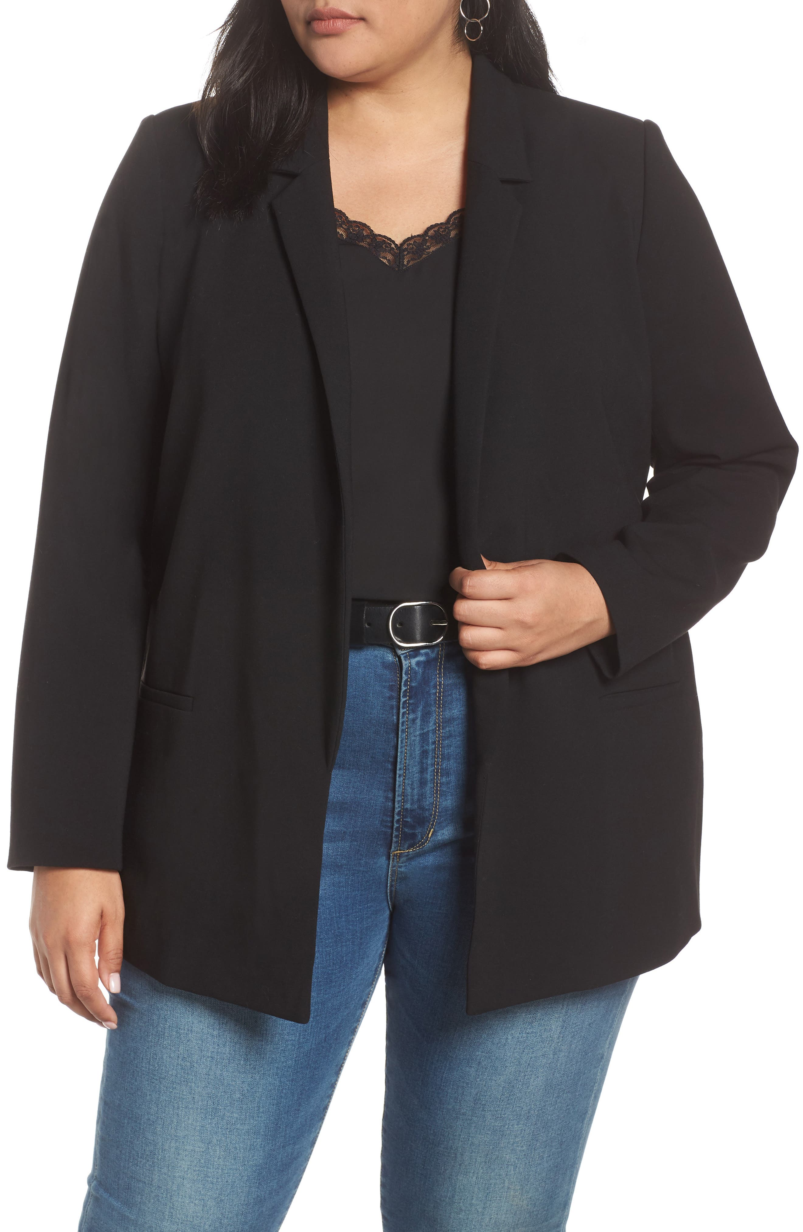 HALOGEN<SUP>®</SUP> Stretch Twill Blazer, Main, color, BLACK