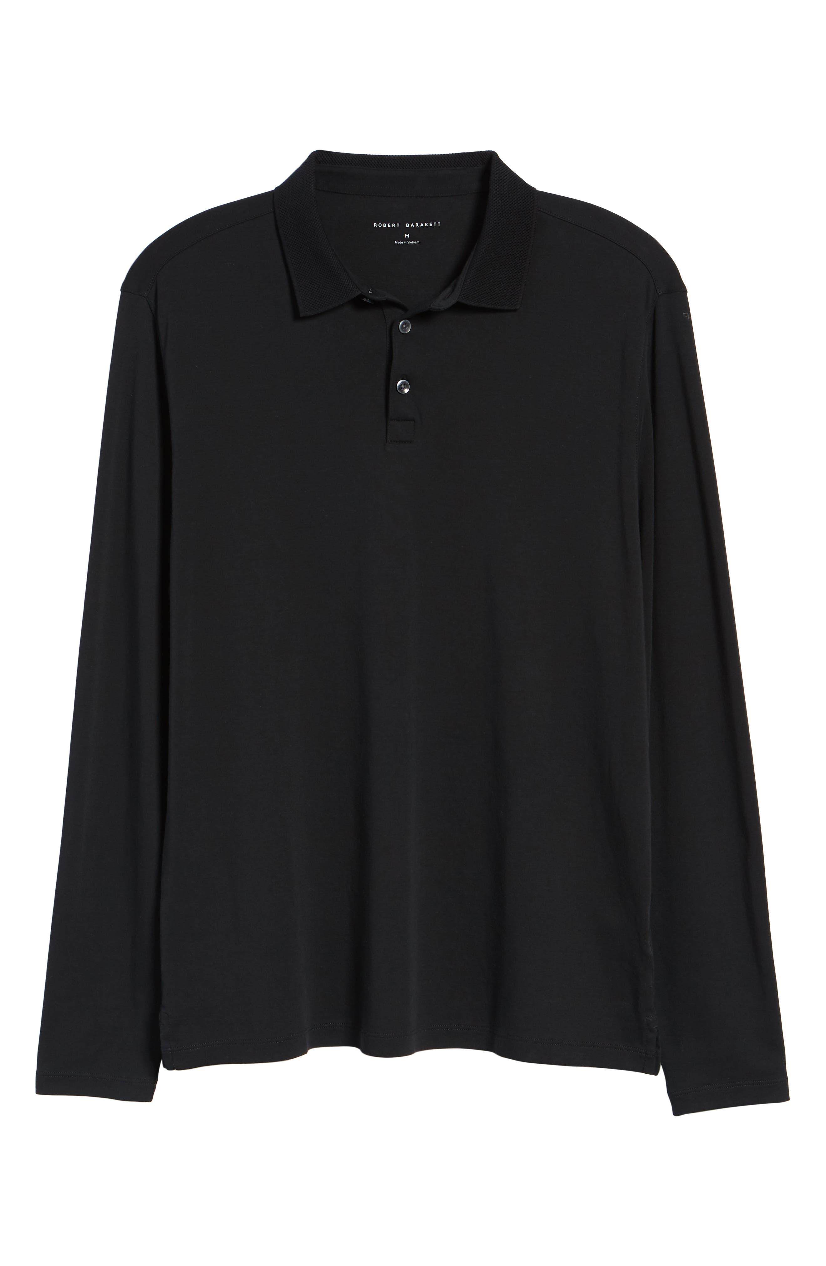 ROBERT BARAKETT, Batiste Long Sleeve Polo, Alternate thumbnail 6, color, BLACK