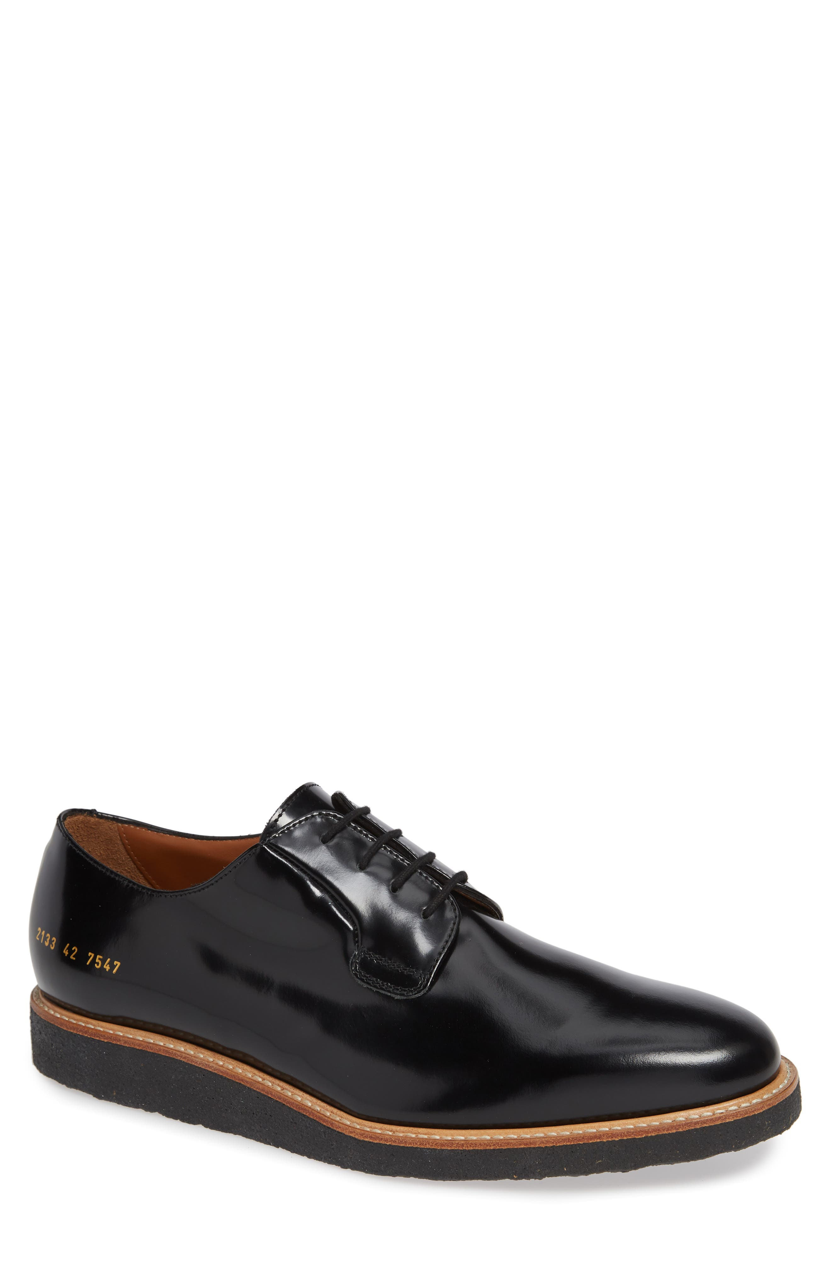 COMMON PROJECTS, Plain Toe Derby, Main thumbnail 1, color, BLACK SHINE