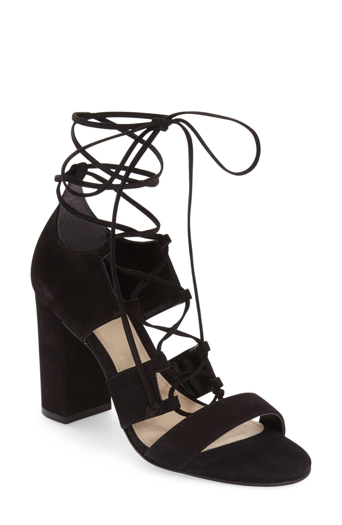 VINCE CAMUTO, 'Wendell' Block Heel Ghillie Sandal, Main thumbnail 1, color, 001