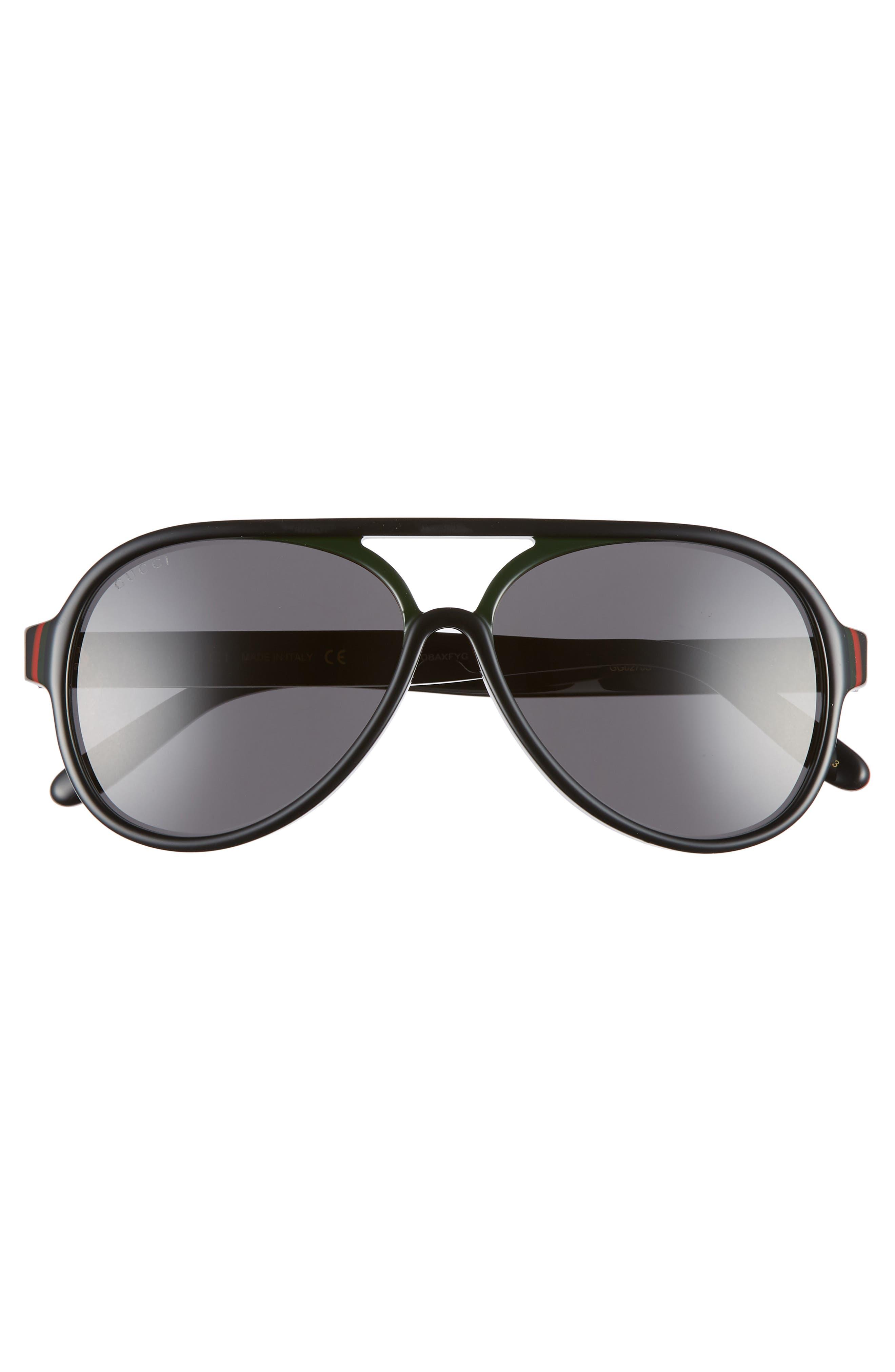 GUCCI, 57mm Aviator Sunglasses, Alternate thumbnail 2, color, BLACK
