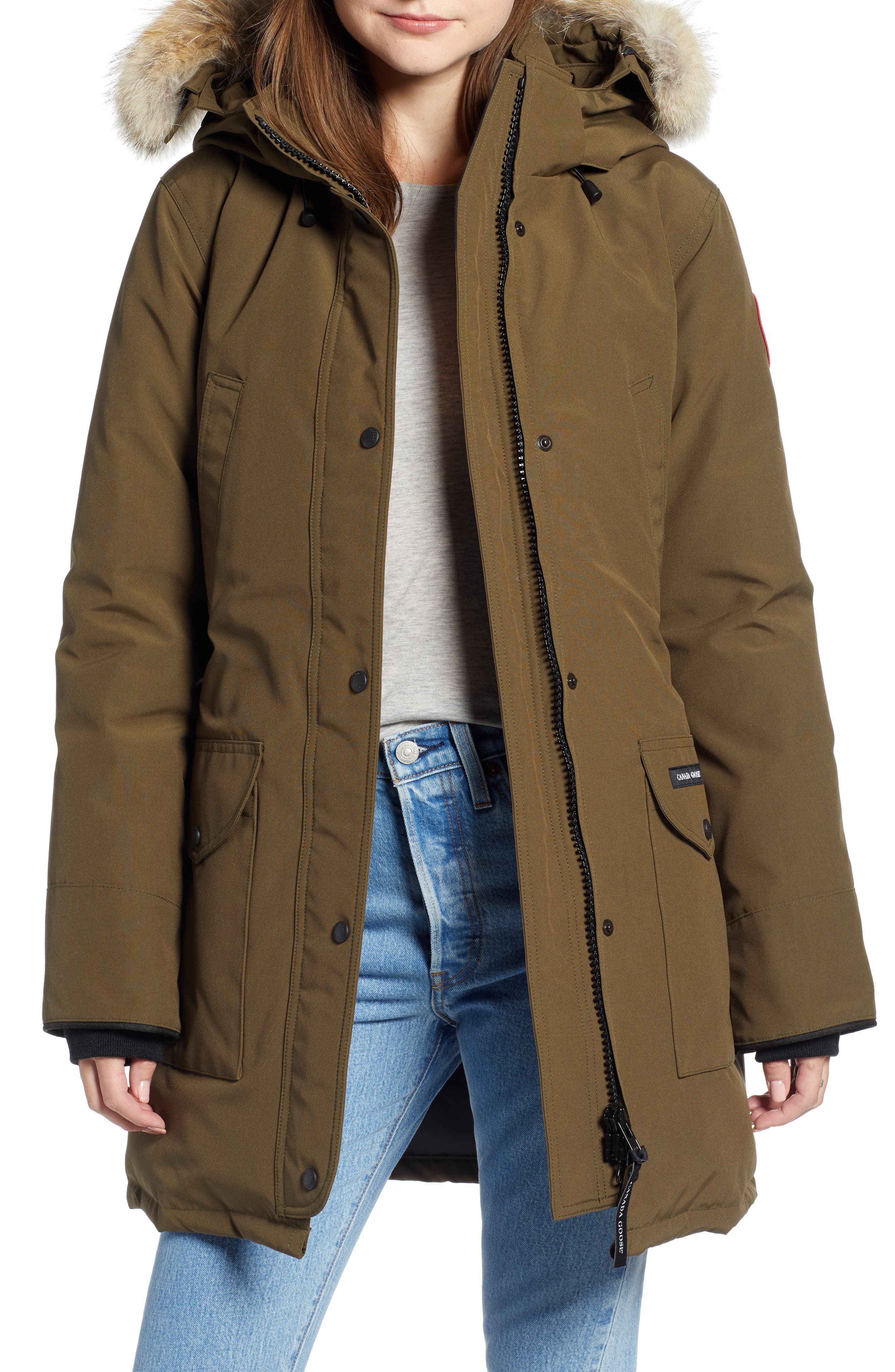 CANADA GOOSE, 'Trillium' Regular Fit Down Parka with Genuine Coyote Fur Trim, Main thumbnail 1, color, MILITARY GREEN