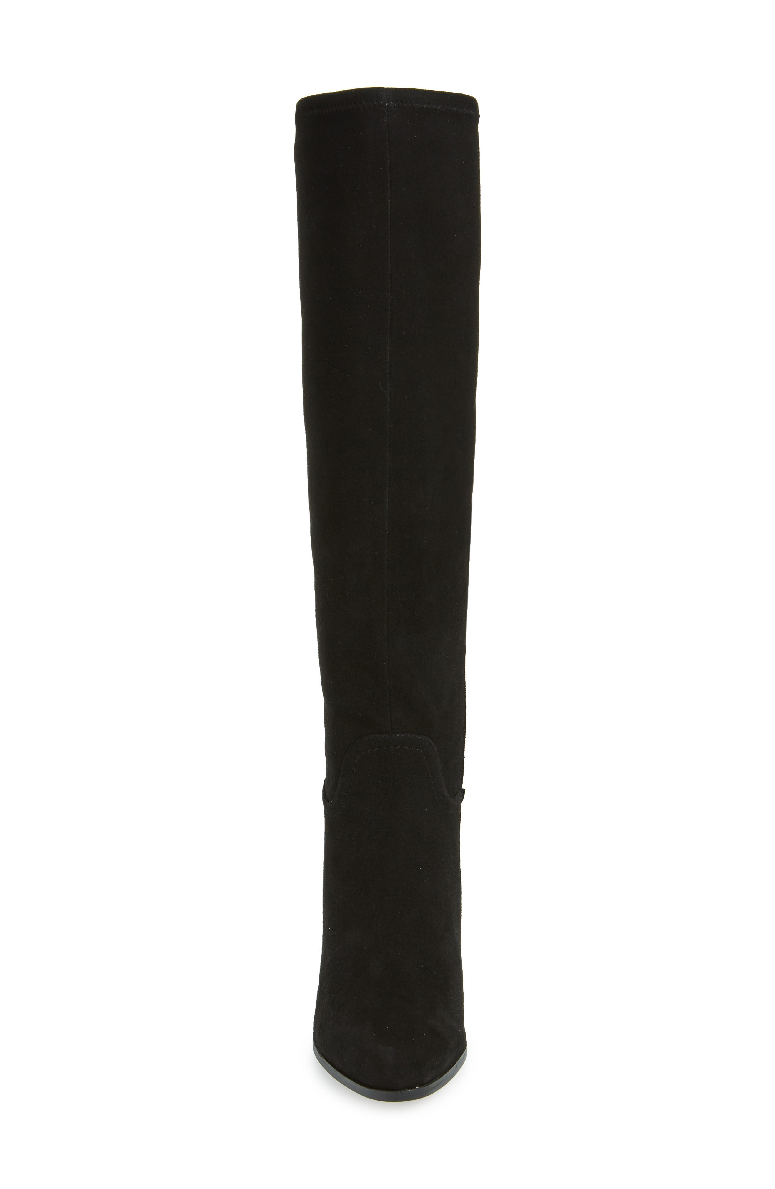 LINEA PAOLO, Elena Knee High Boot, Alternate thumbnail 4, color, BLACK STRETCH SUEDE