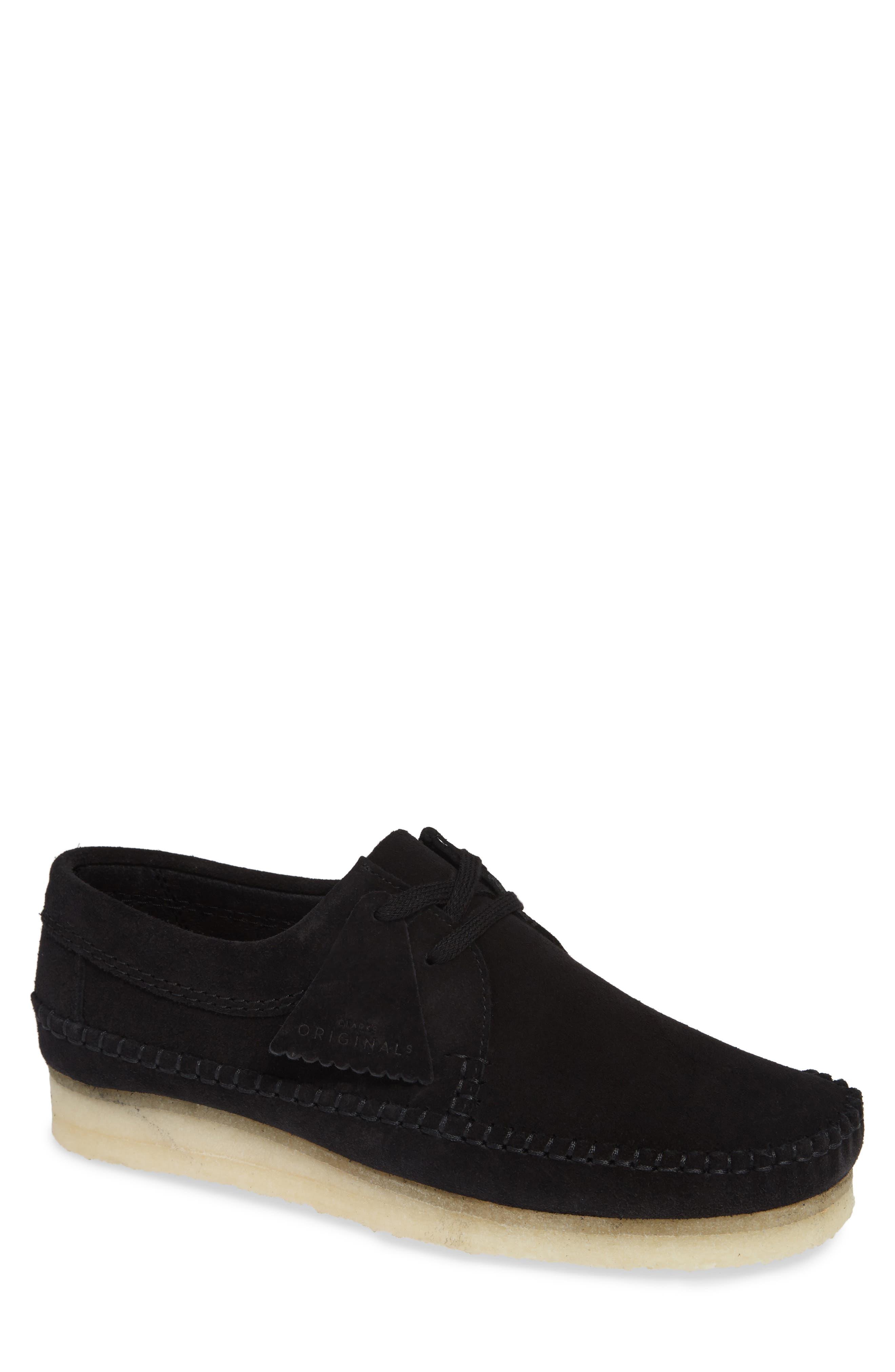 CLARKS<SUP>®</SUP> 'Weaver' Moc Toe Derby, Main, color, BLACK SUEDE