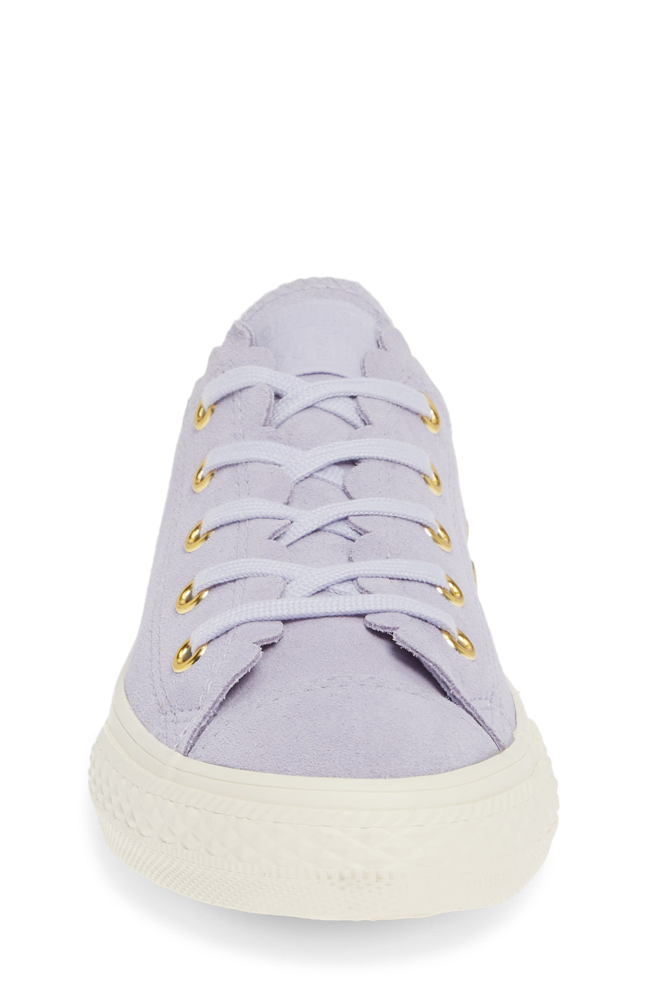 CONVERSE, Chuck Taylor<sup>®</sup> All Star<sup>®</sup> Ox Scallop Sneaker, Alternate thumbnail 4, color, OXYGEN PURPLE/ OXYGEN PURPLE