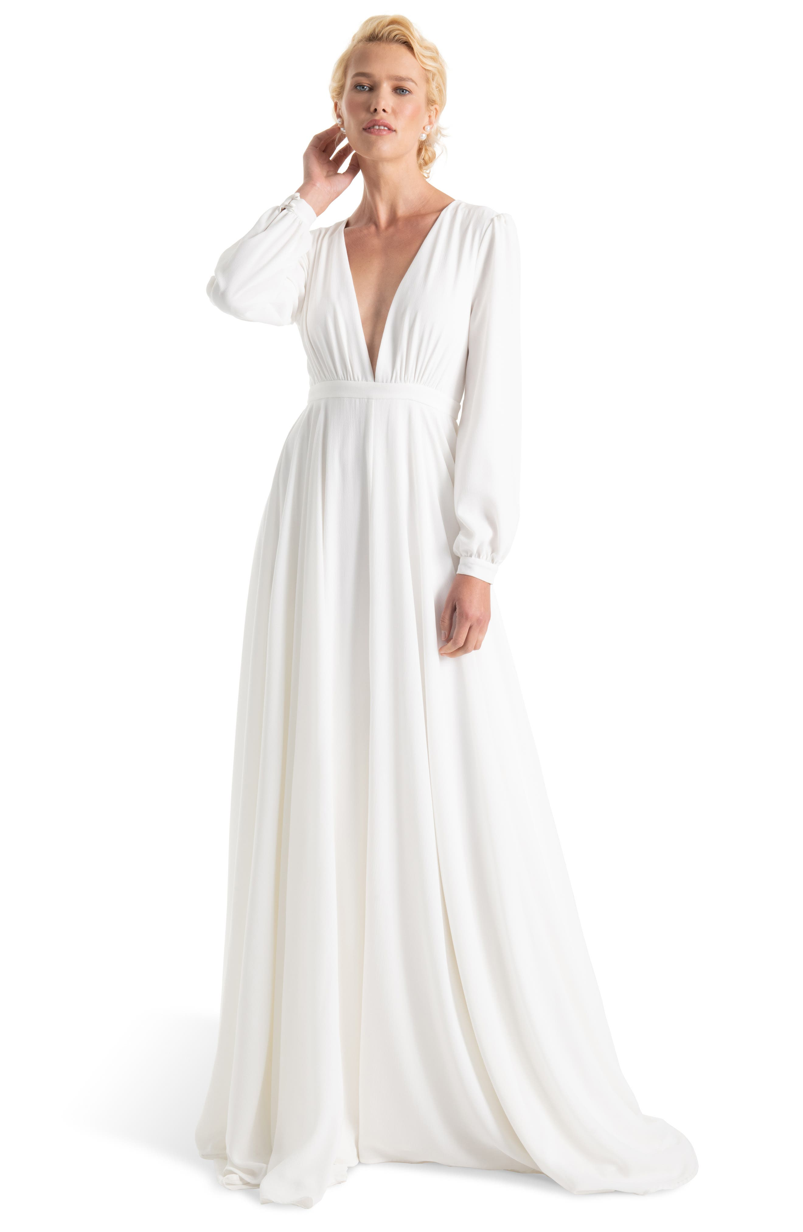 JOANNA AUGUST, Floyd V-Neck Long Sleeve Gown, Main thumbnail 1, color, WHITE