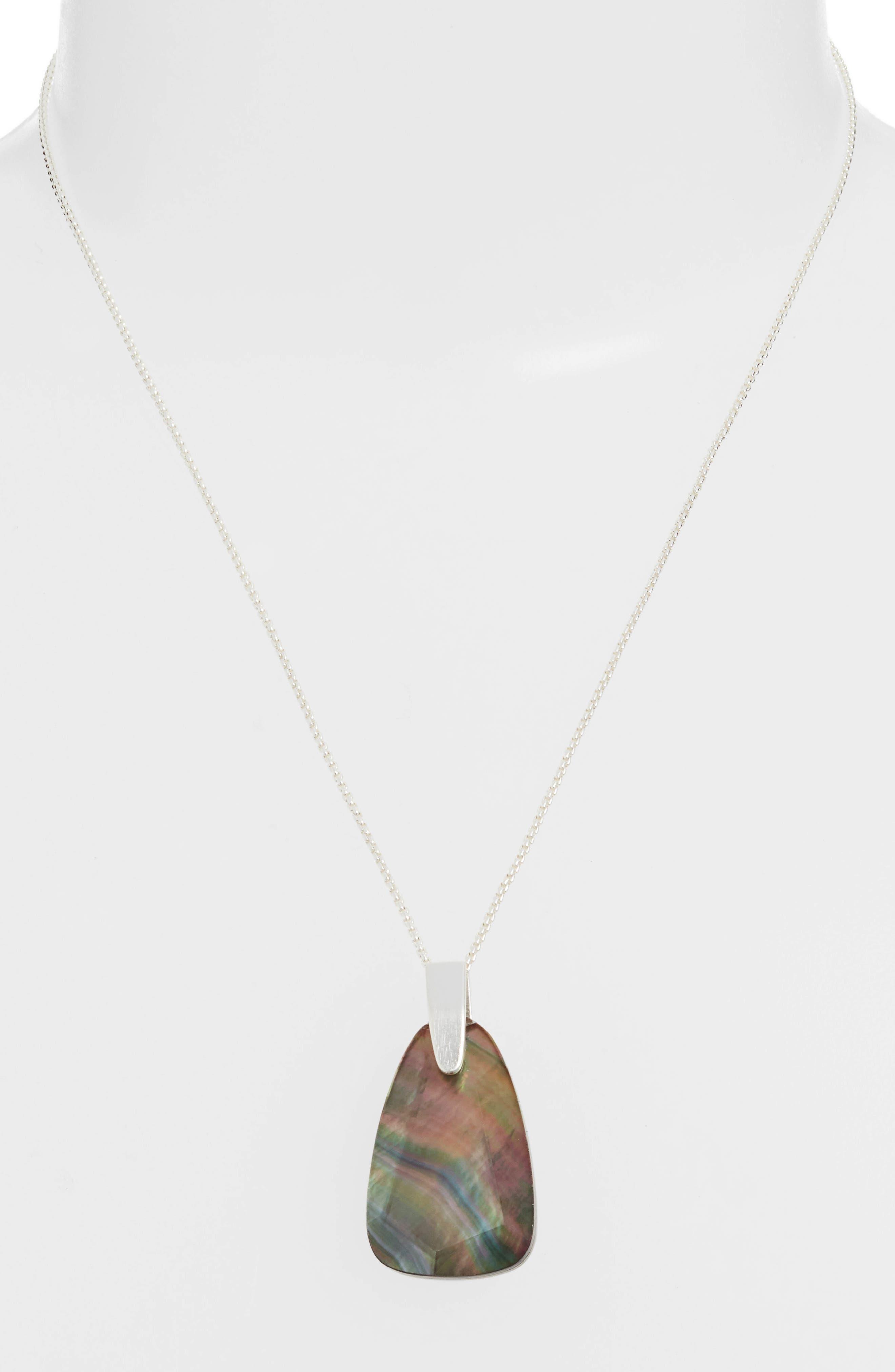 KENDRA SCOTT, Maeve Long Stone Pendant Necklace, Alternate thumbnail 2, color, BRIGHT SILVER/ BLACK MOP