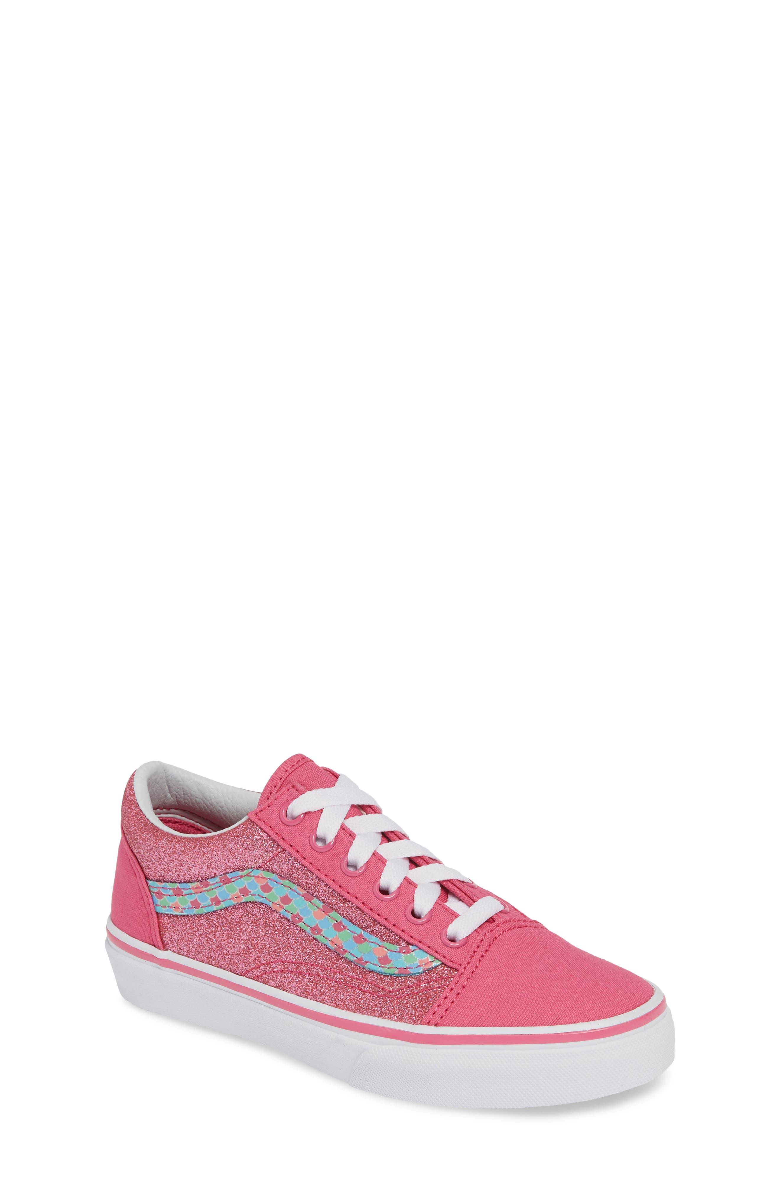 VANS, Old Skool Sneaker, Main thumbnail 1, color, CARMINE ROSE/ TRUE WHITE
