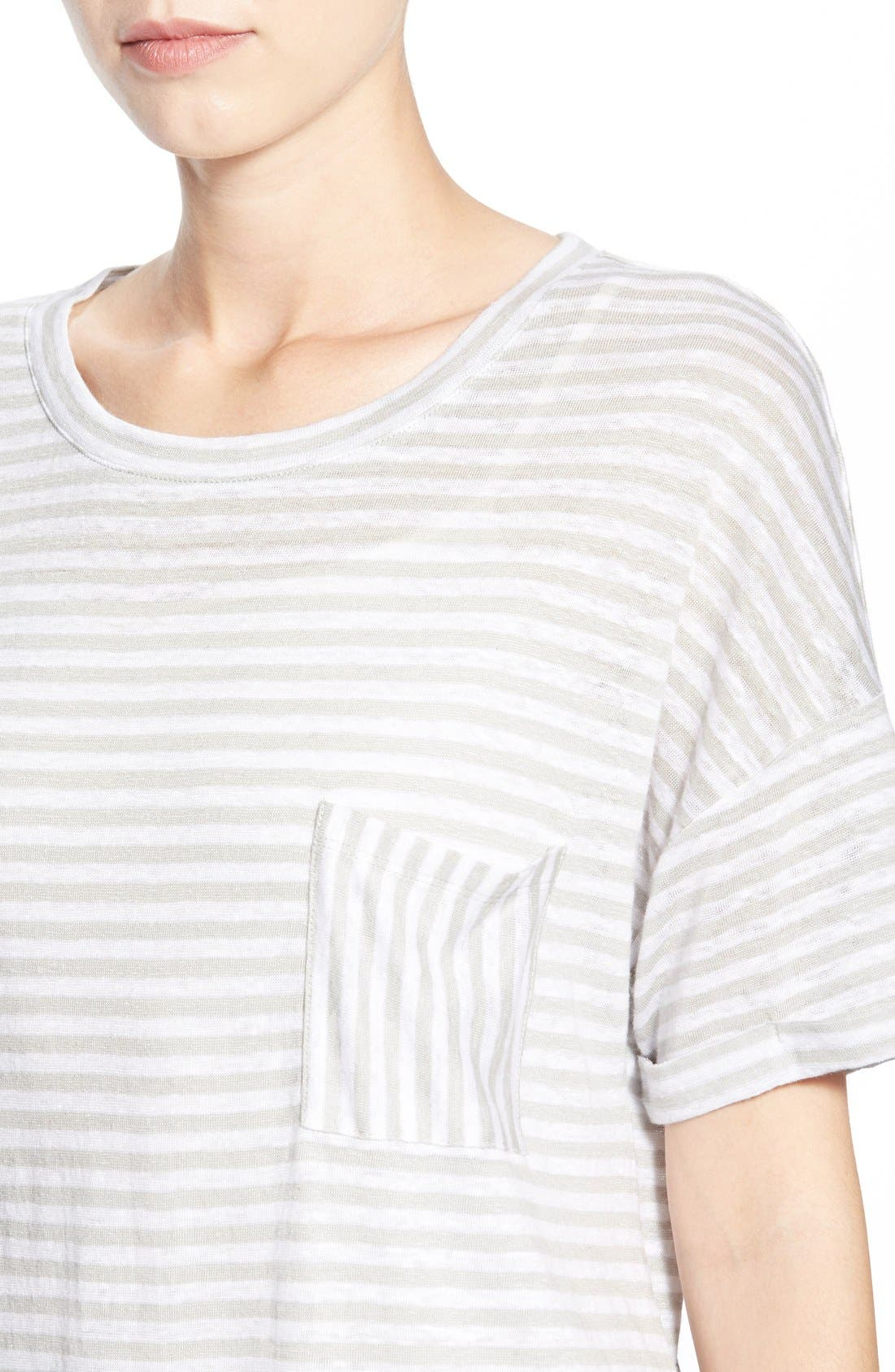 CASLON<SUP>®</SUP>, Cuff Sleeve One-Pocket Stripe Tee, Alternate thumbnail 5, color, 050