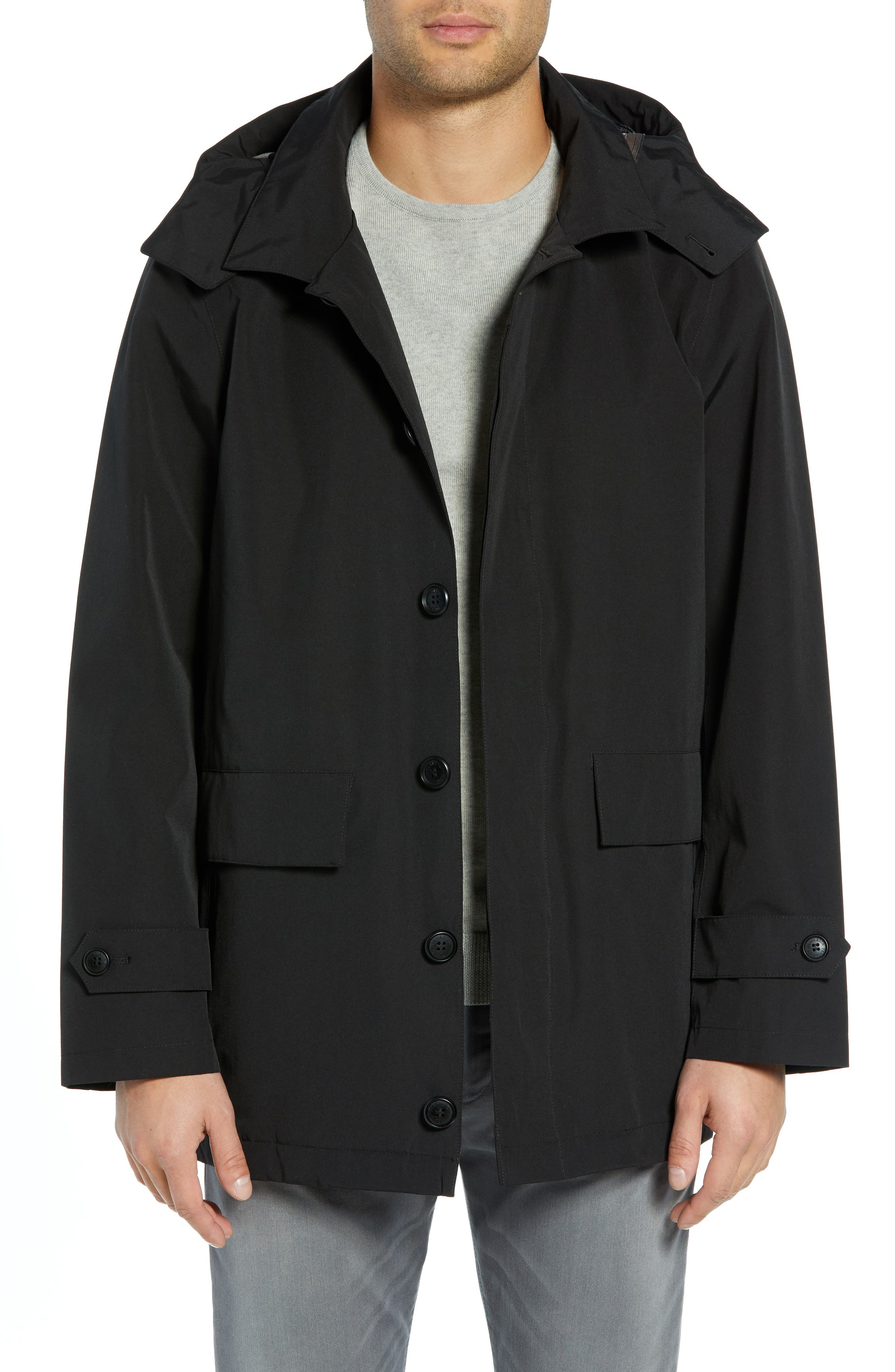 PENDLETON, Harbor Cloth Seattle Raincoat, Main thumbnail 1, color, BLACK