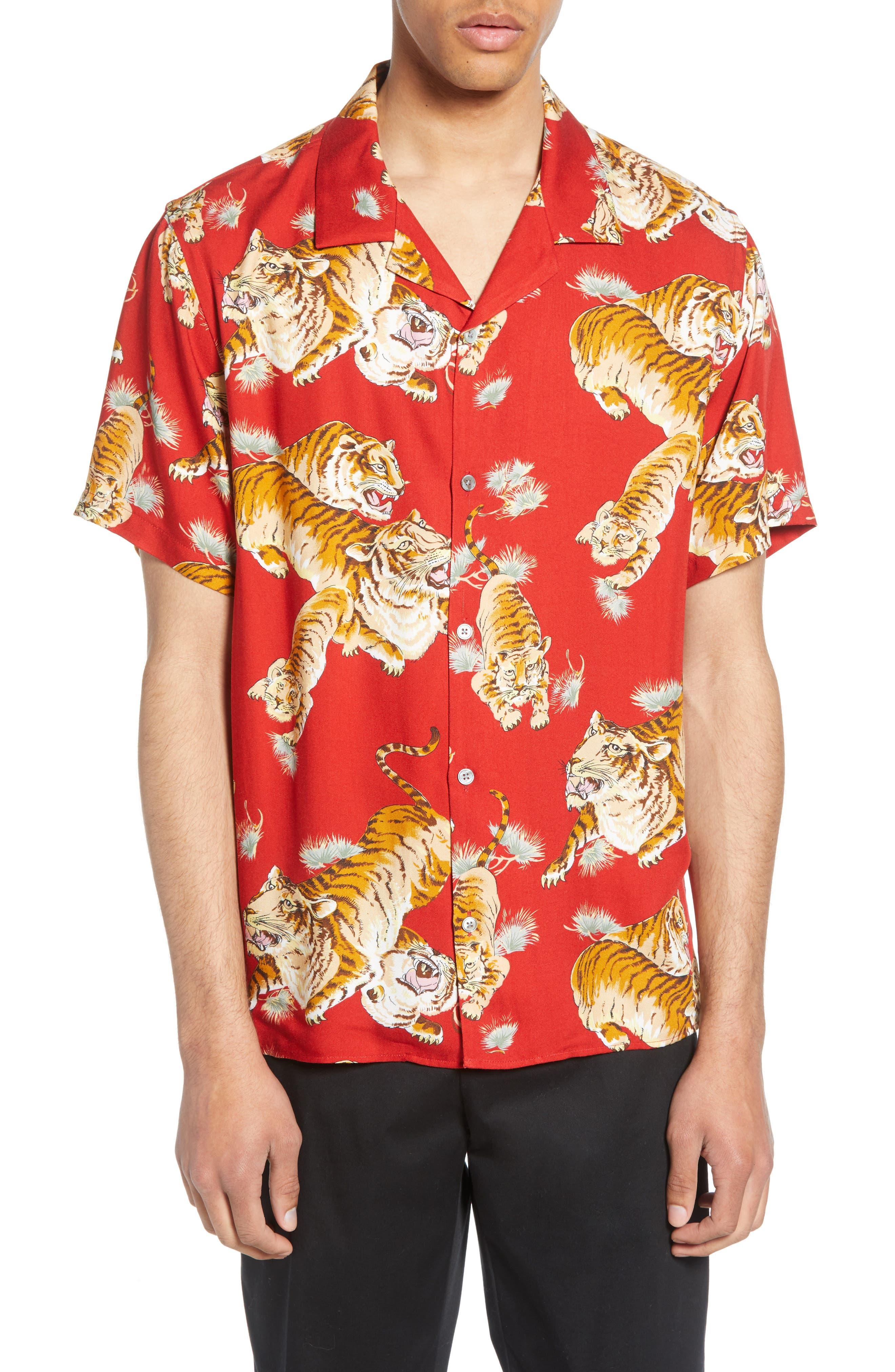 THE KOOPLES, Tiger Print Short Sleeve Camp Shirt, Main thumbnail 1, color, 250