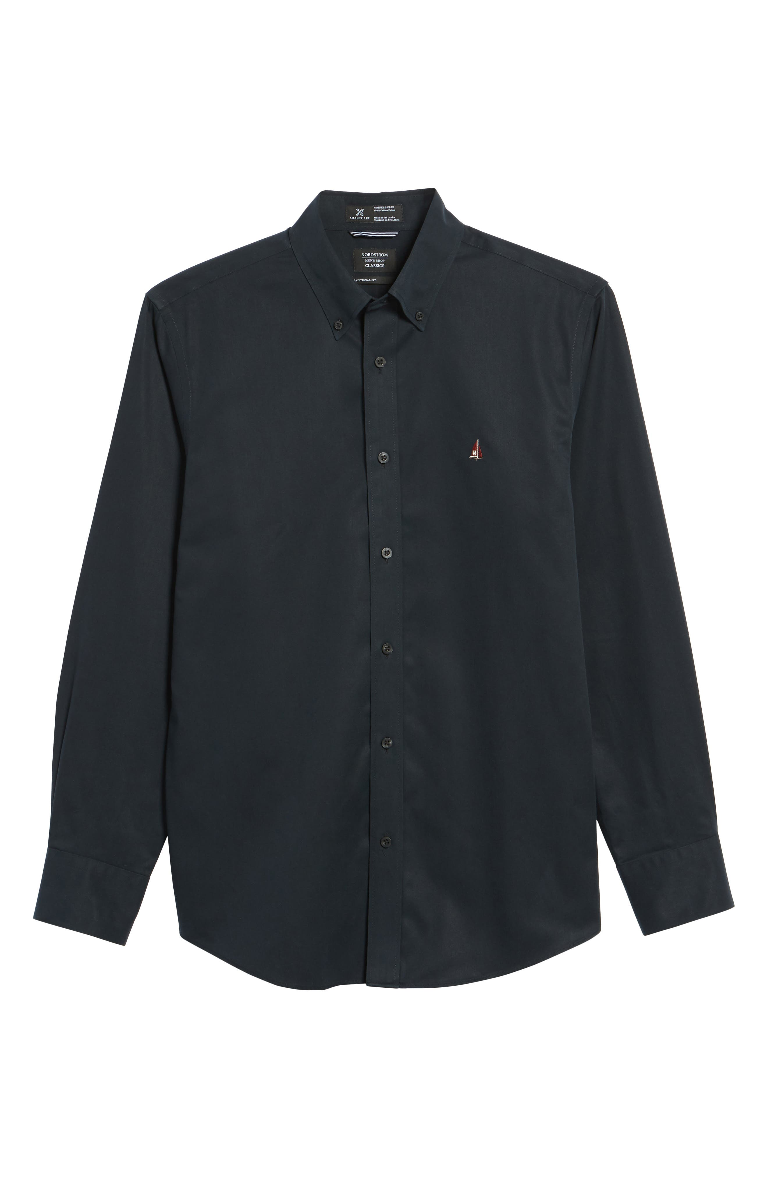 NORDSTROM MEN'S SHOP, Smartcare<sup>™</sup> Traditional Fit Twill Boat Shirt, Alternate thumbnail 6, color, BLACK