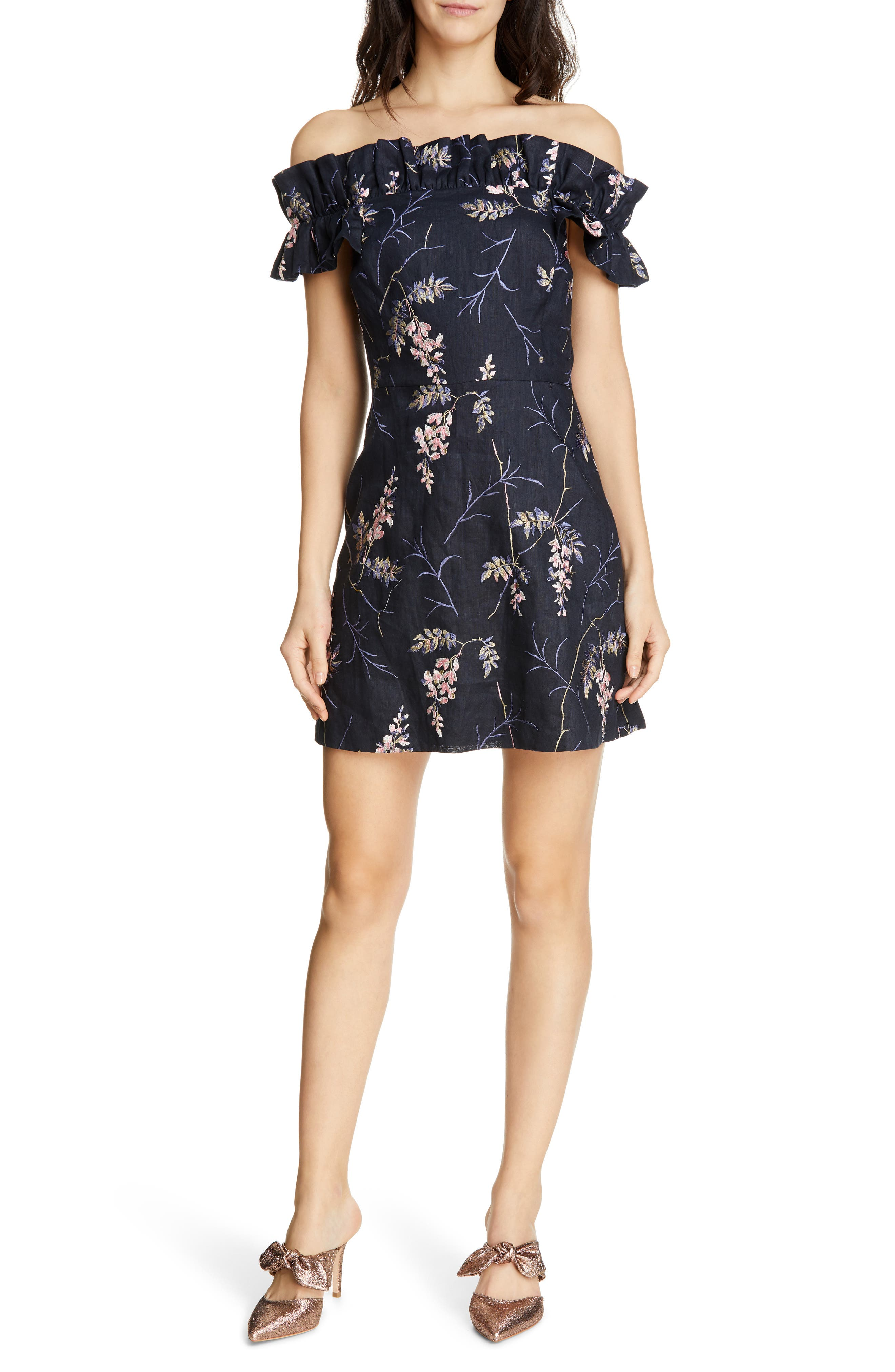 REBECCA TAYLOR, Ivie Off the Shoulder Embroidered Detail Linen Dress, Main thumbnail 1, color, NAVY COMBO
