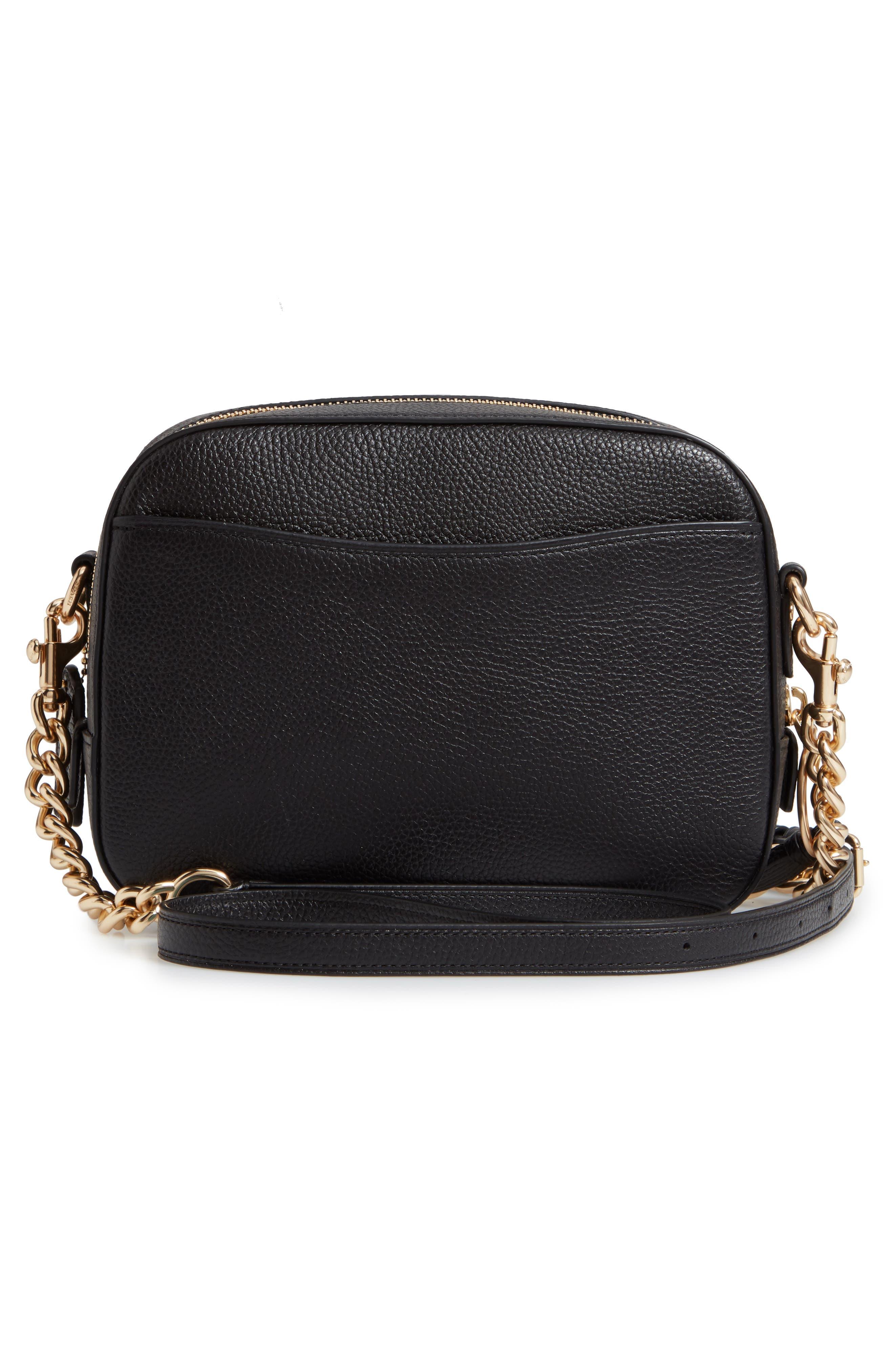 COACH, Pebbled Leather Camera Bag, Alternate thumbnail 4, color, BLACK