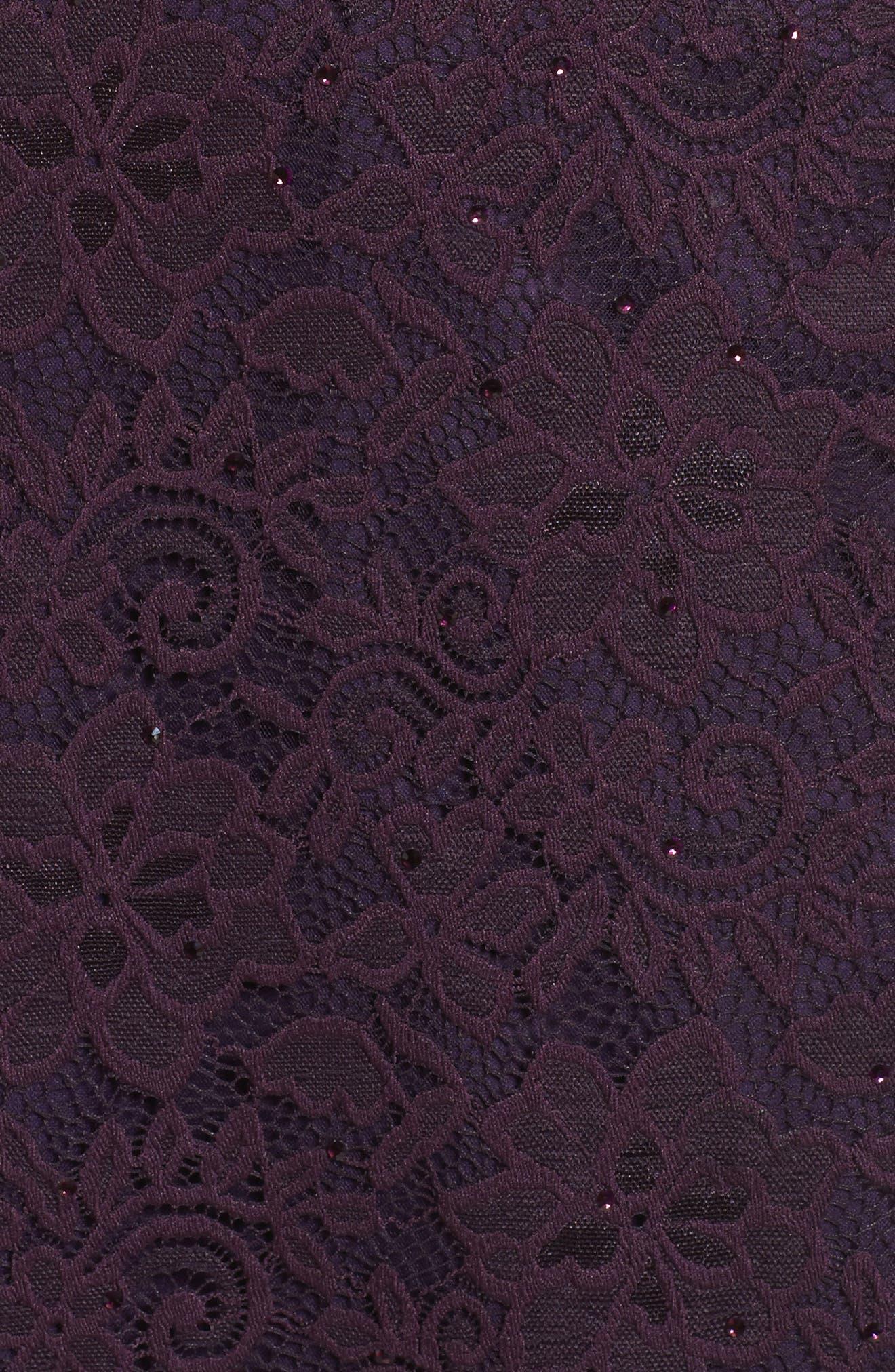 LA FEMME, Embellished Lace Sheath Dress, Alternate thumbnail 5, color, 501