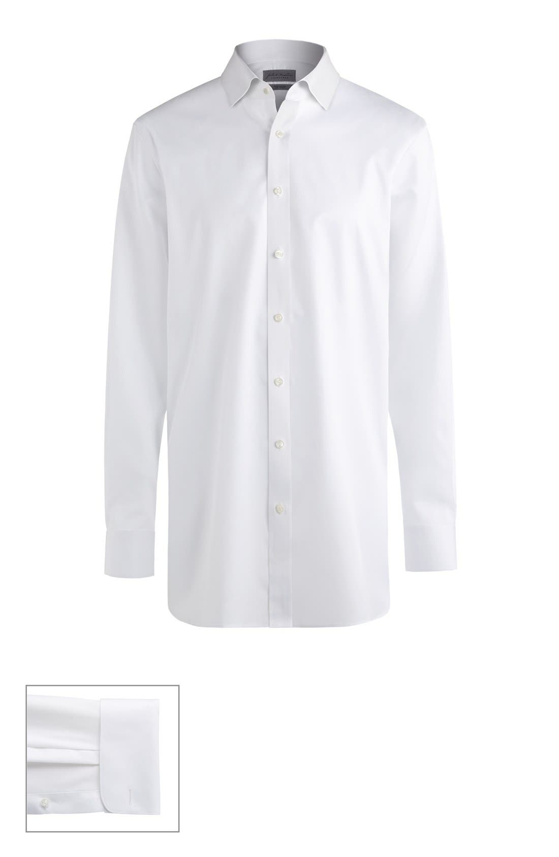 JOHN W. NORDSTROM<SUP>®</SUP>, Made to Measure Extra Trim Fit Short Spread Collar Solid Dress Shirt, Main thumbnail 1, color, WHITE FINE TWILL