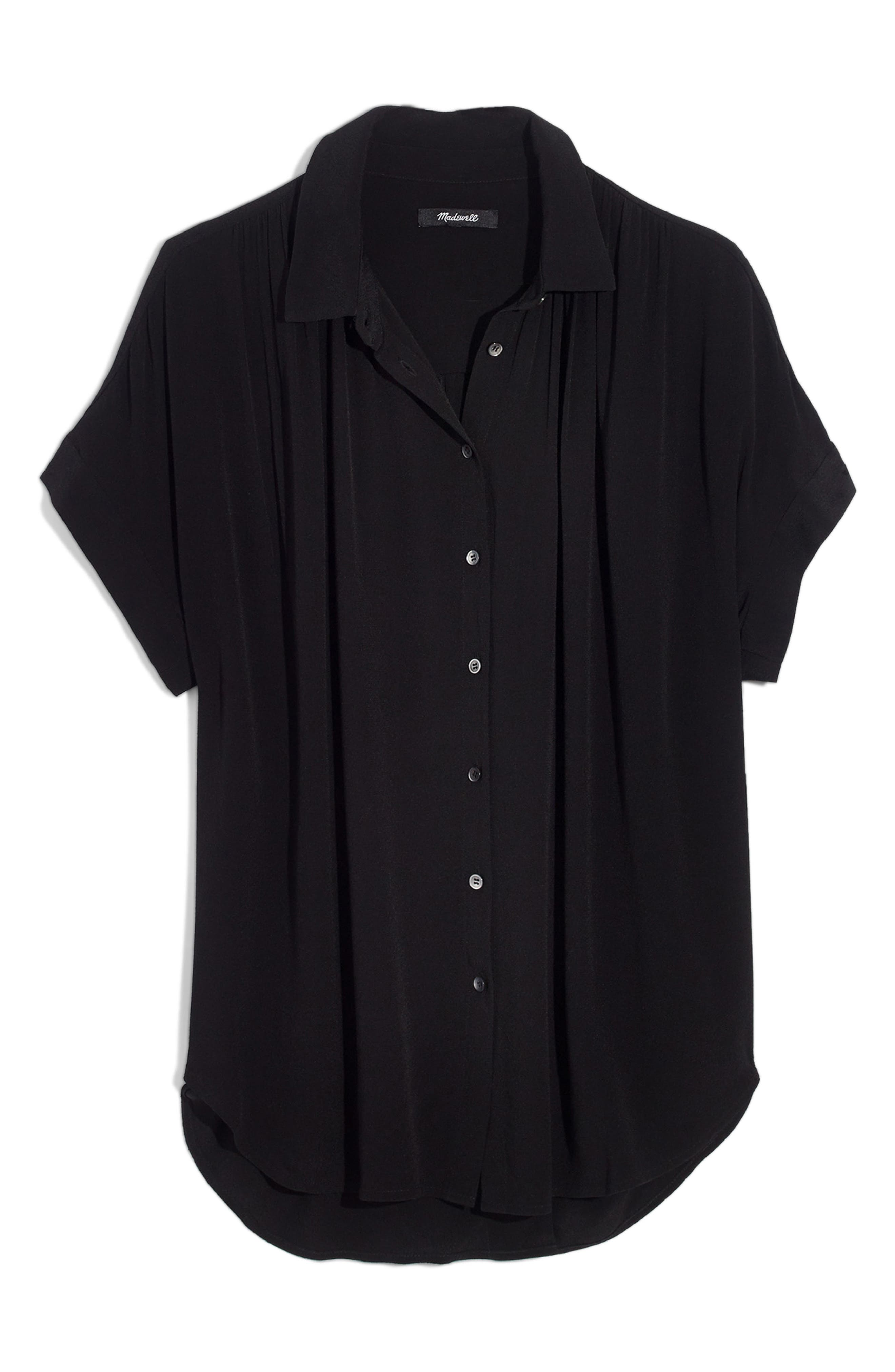 MADEWELL, Central Drapey Shirt, Alternate thumbnail 5, color, TRUE BLACK