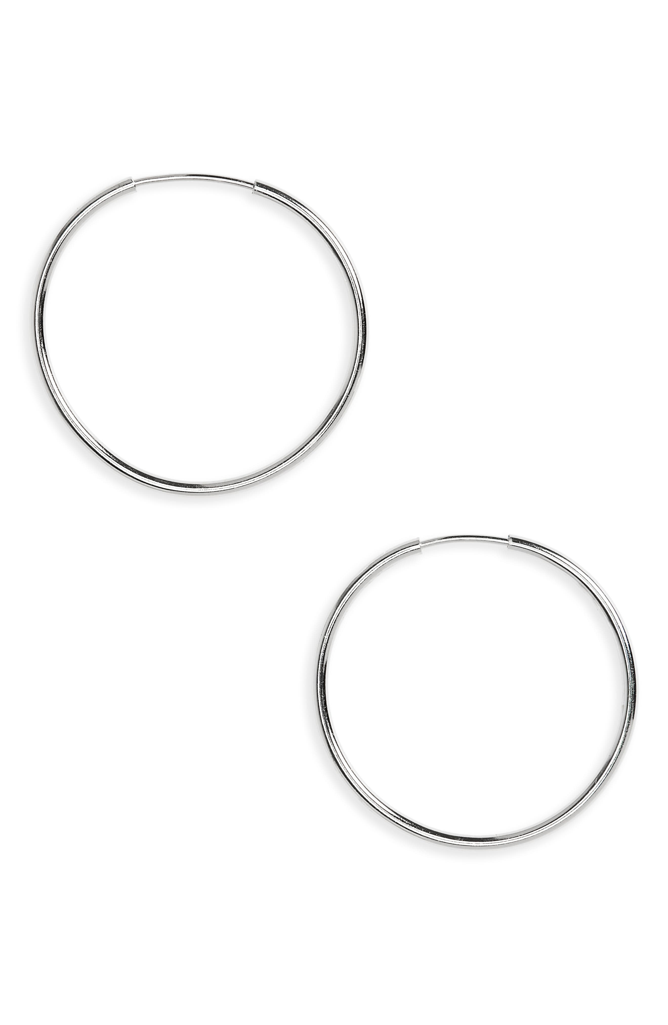 ARGENTO VIVO, Endless Hoop Earrings, Main thumbnail 1, color, SILVER