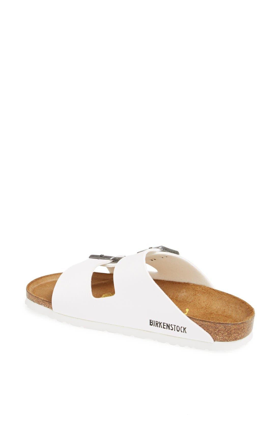 BIRKENSTOCK, 'Arizona' White Birko-Flor Sandal, Alternate thumbnail 9, color, WHITE SYNTHETIC LEATHER