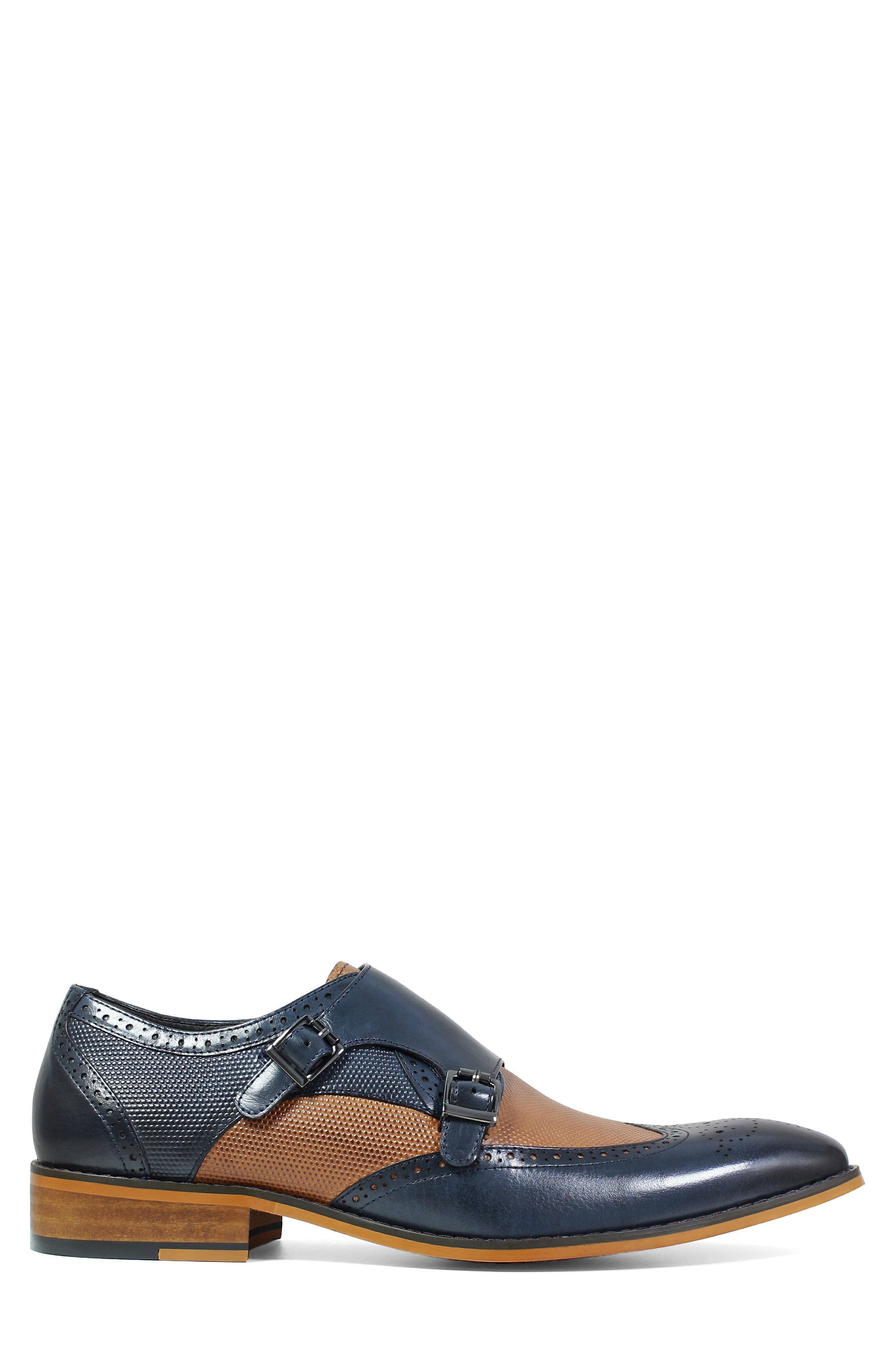 STACY ADAMS, Lavine Wingtip Monk Shoe, Alternate thumbnail 3, color, NAVY AND SADDLE TAN LEATHER