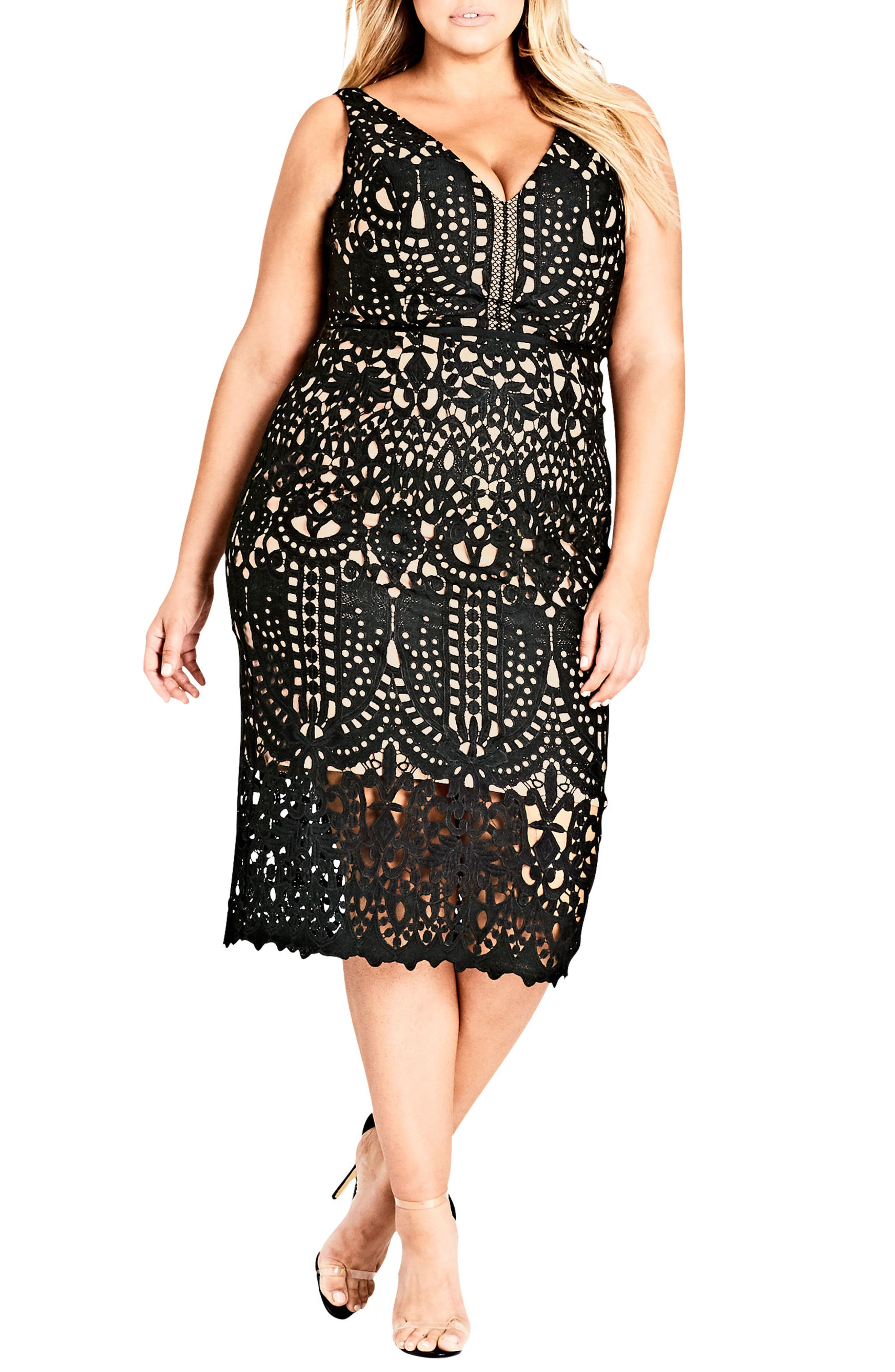 CITY CHIC, All Class Lace Sheath Dress, Main thumbnail 1, color, BLACK