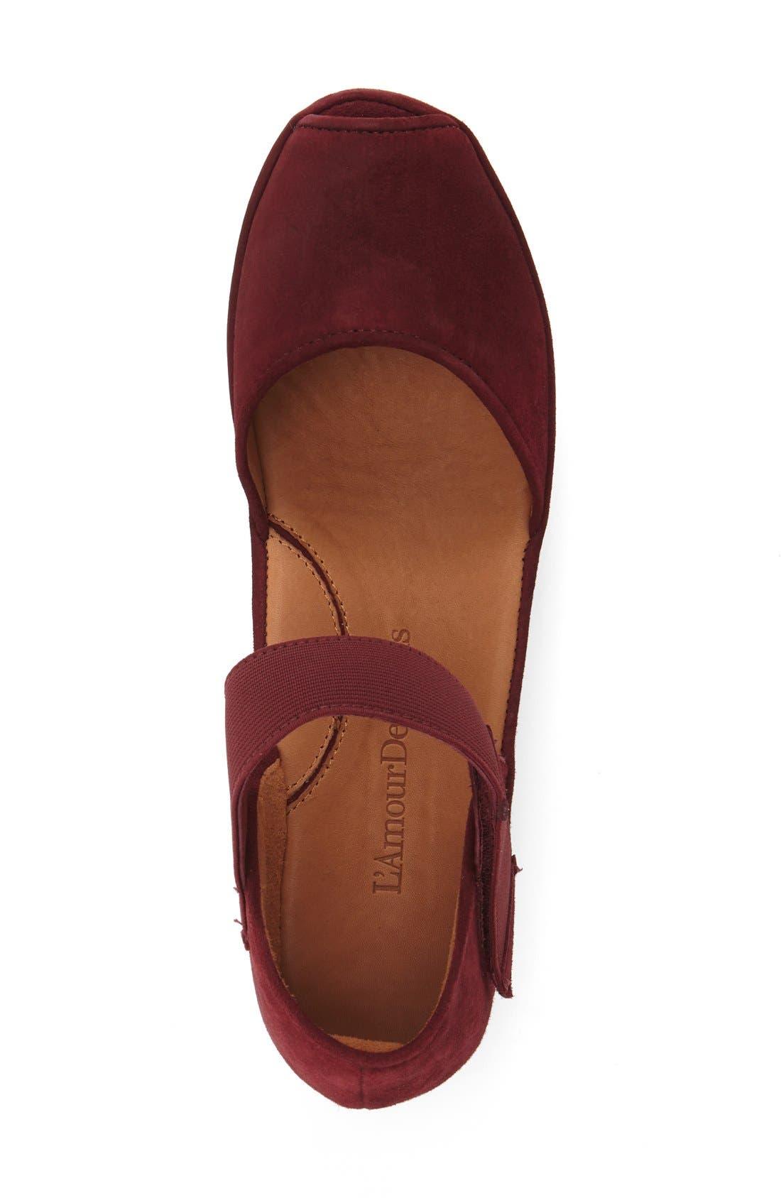 L'AMOUR DES PIEDS, 'Amadour' Platform Sandal, Alternate thumbnail 3, color, MULBERRY SUEDE LEATHER