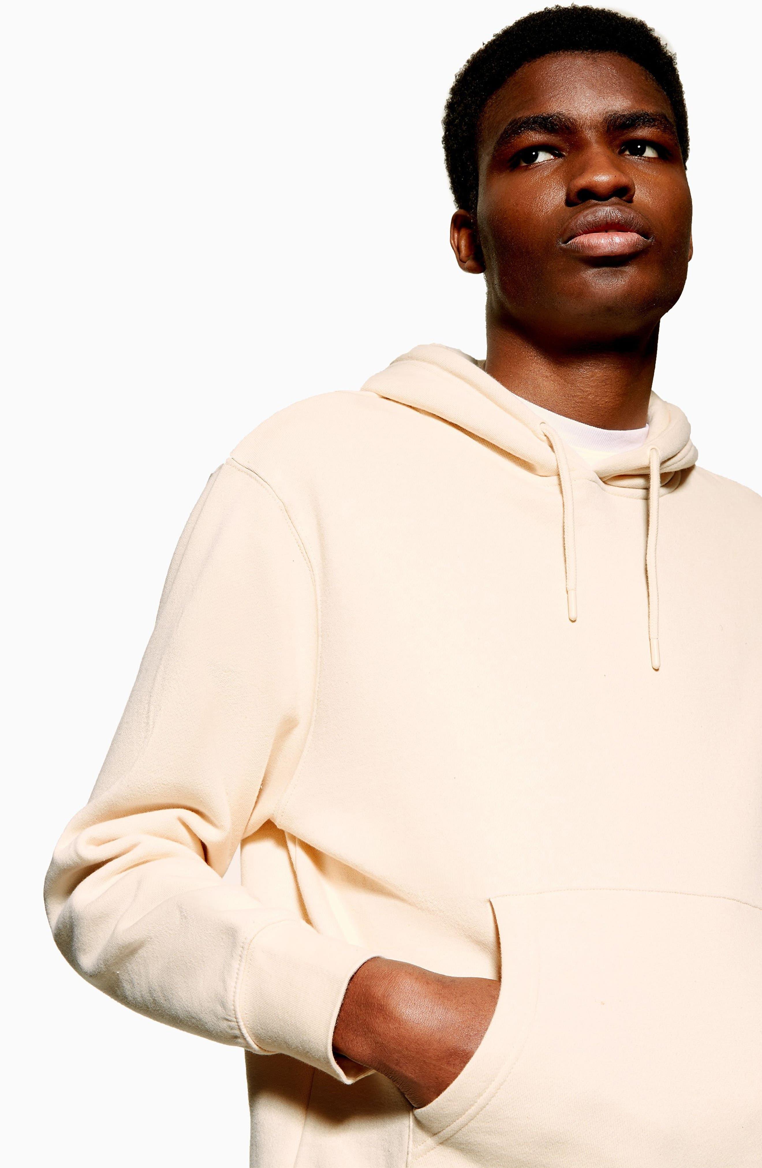 TOPMAN, Tristan Hooded Sweatshirt, Alternate thumbnail 4, color, STONE