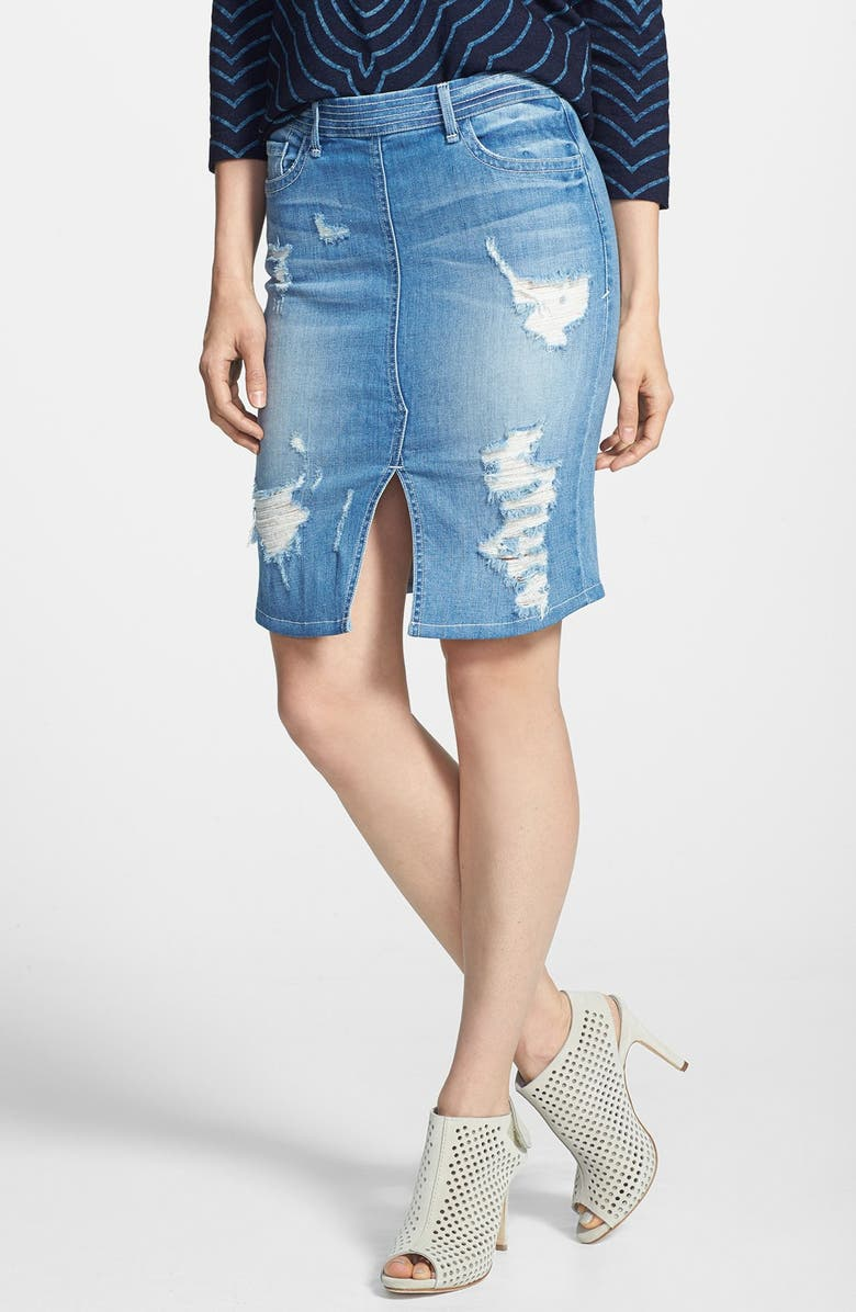 850cbae69 MARC BY MARC JACOBS Destroyed Denim Pencil Skirt, Main, color, 400