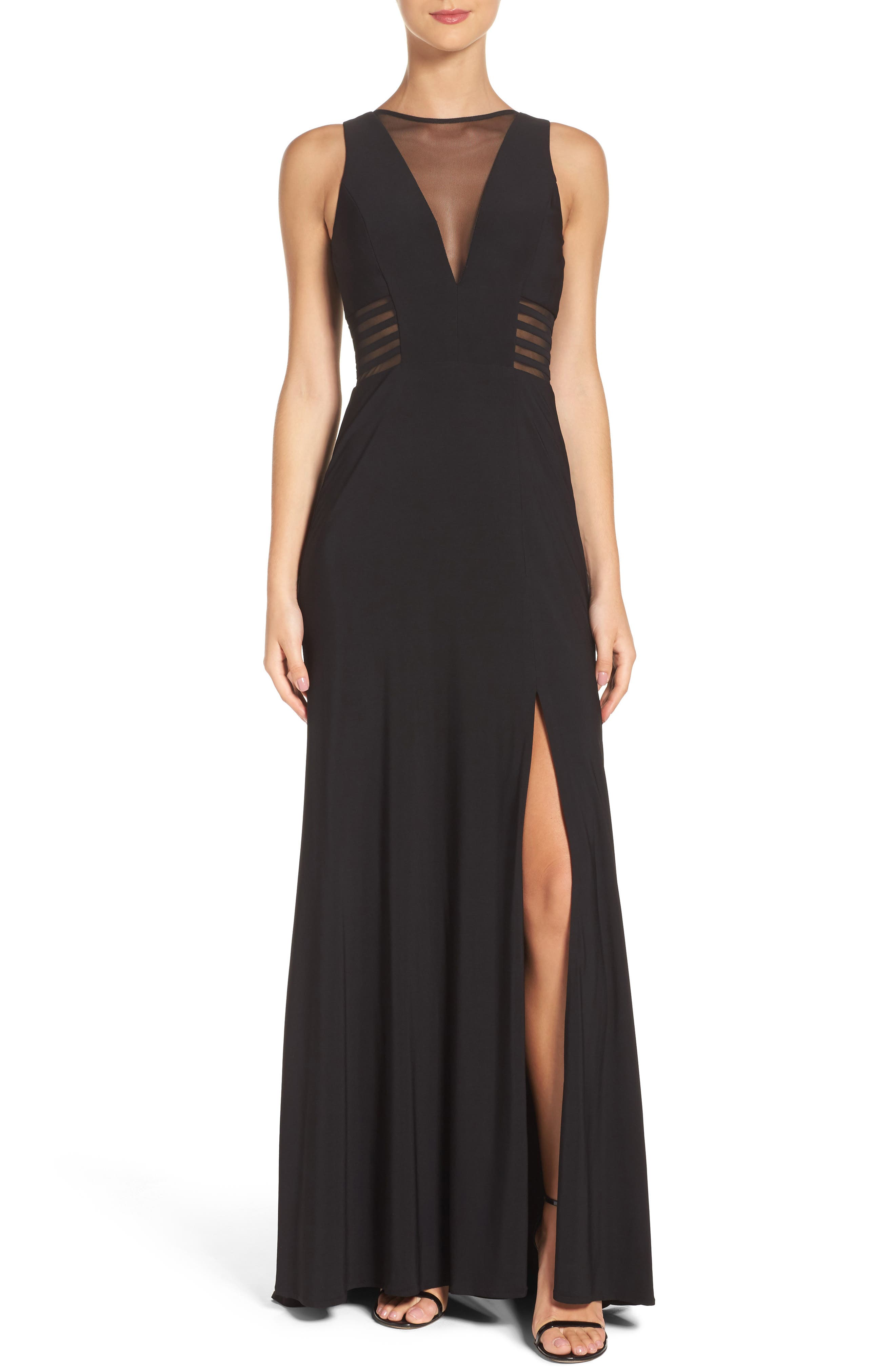 MORGAN & CO. Illusion Gown, Main, color, BLACK