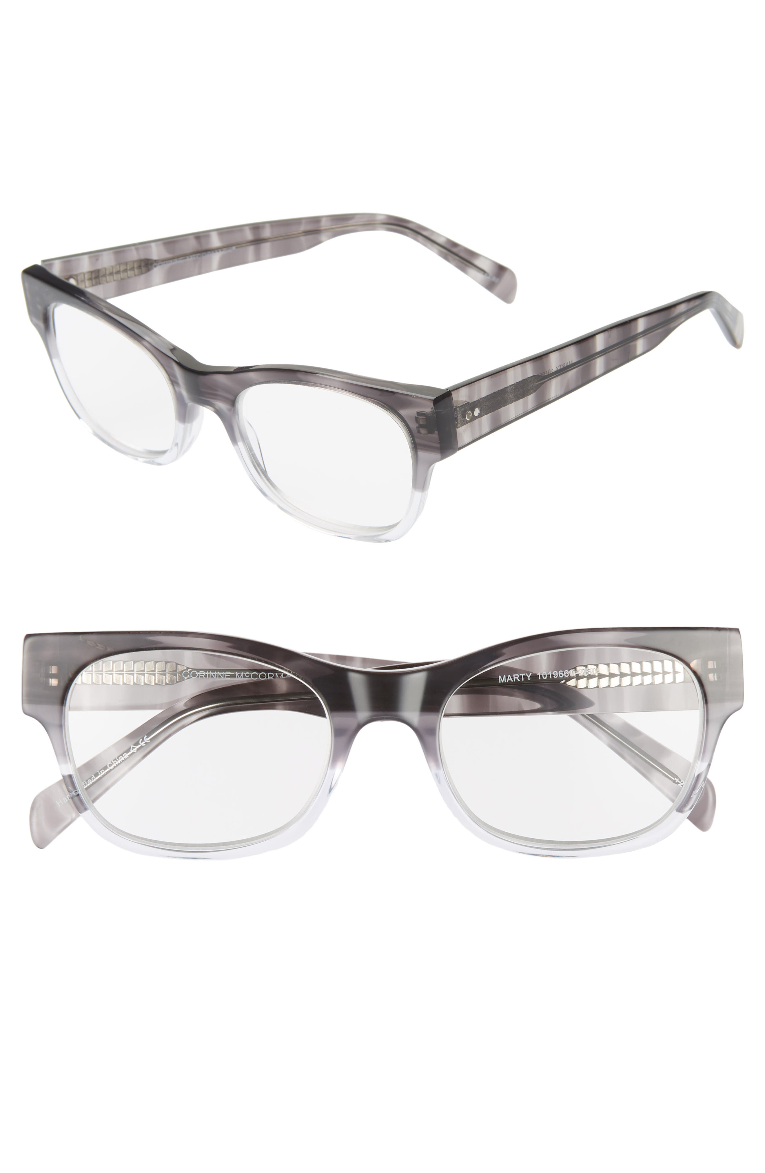 CORINNE MCCORMACK Marty 51mm Reading Glasses, Main, color, GREY FADE