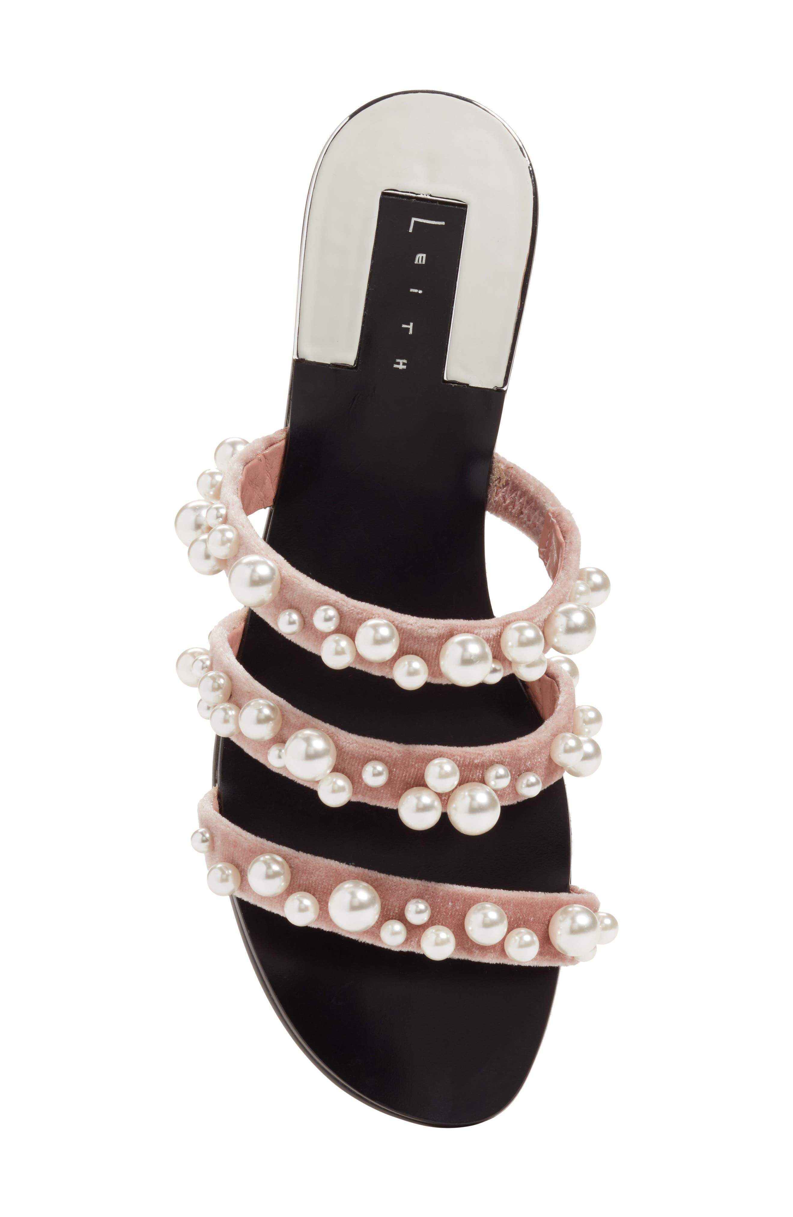 LEITH, Stunner Embellished Strappy Slide Sandal, Alternate thumbnail 5, color, BLUSH VELVET