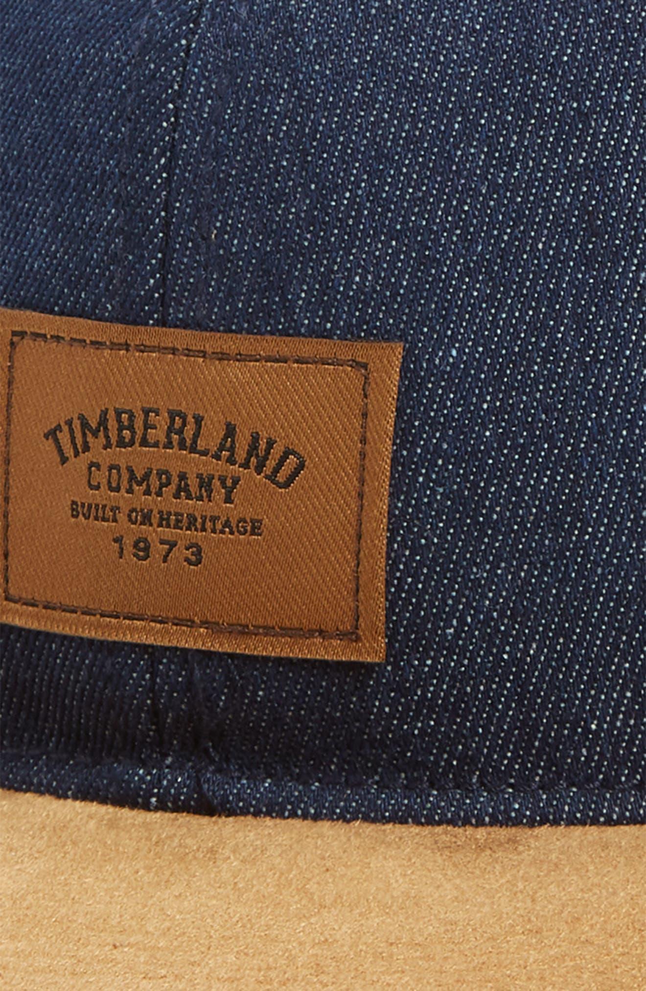 TIMBERLAND, Tilton Logo Baseball Cap, Alternate thumbnail 3, color, DARK DENIM