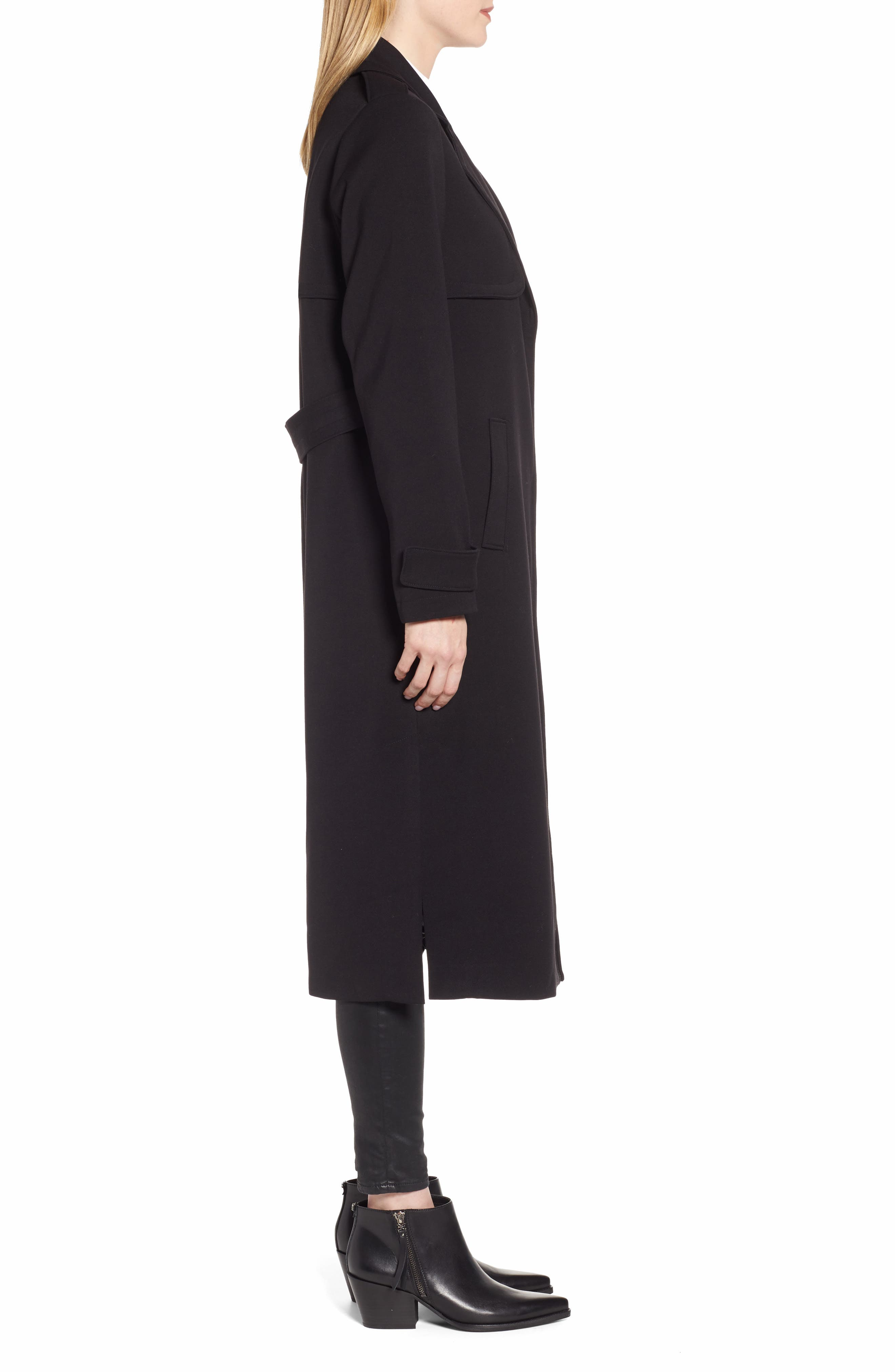 KENNETH COLE NEW YORK, Ponte Trench Coat, Alternate thumbnail 4, color, BLACK