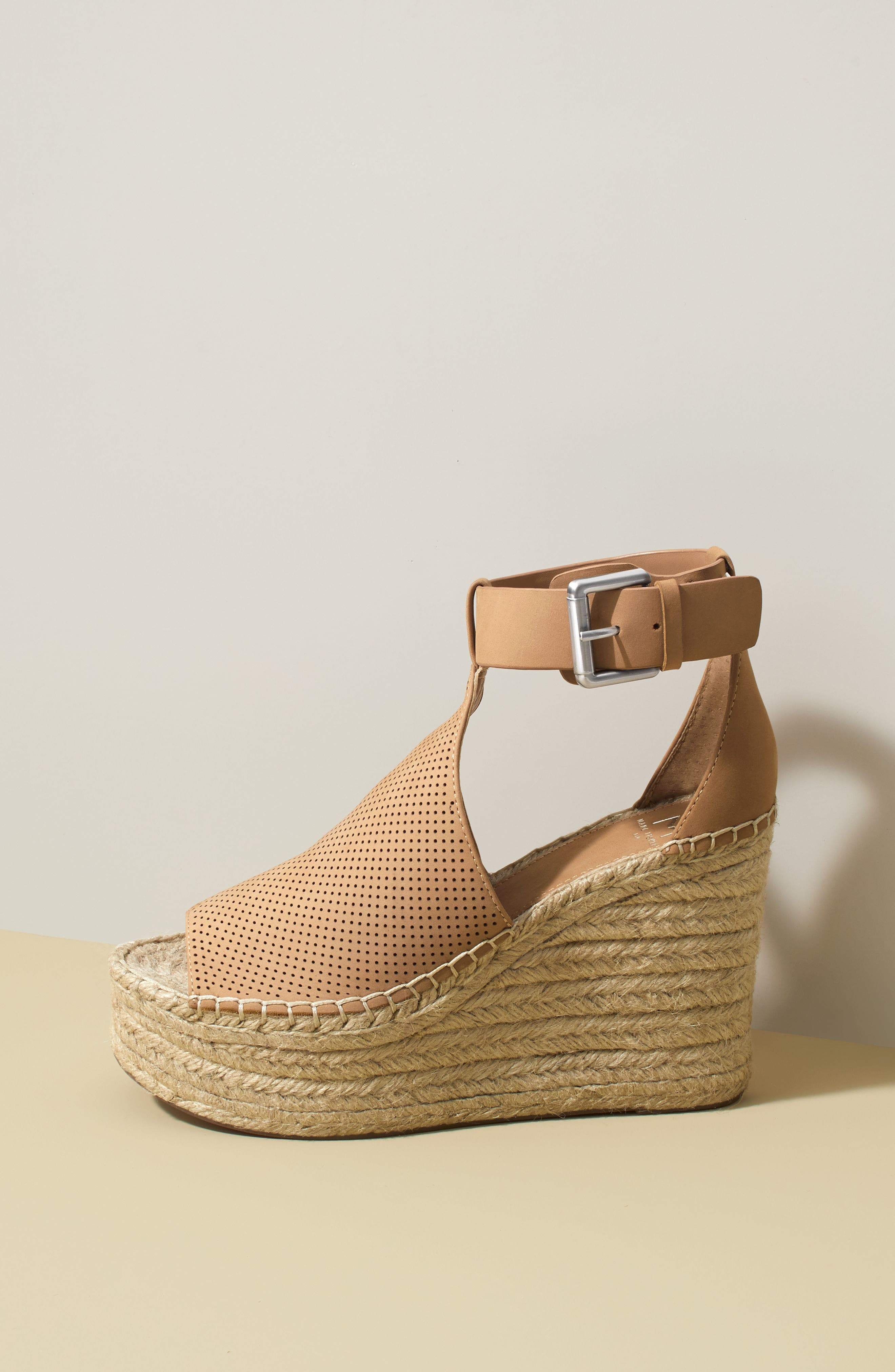 MARC FISHER LTD, Annie Perforated Espadrille Platform Wedge, Alternate thumbnail 10, color, 435