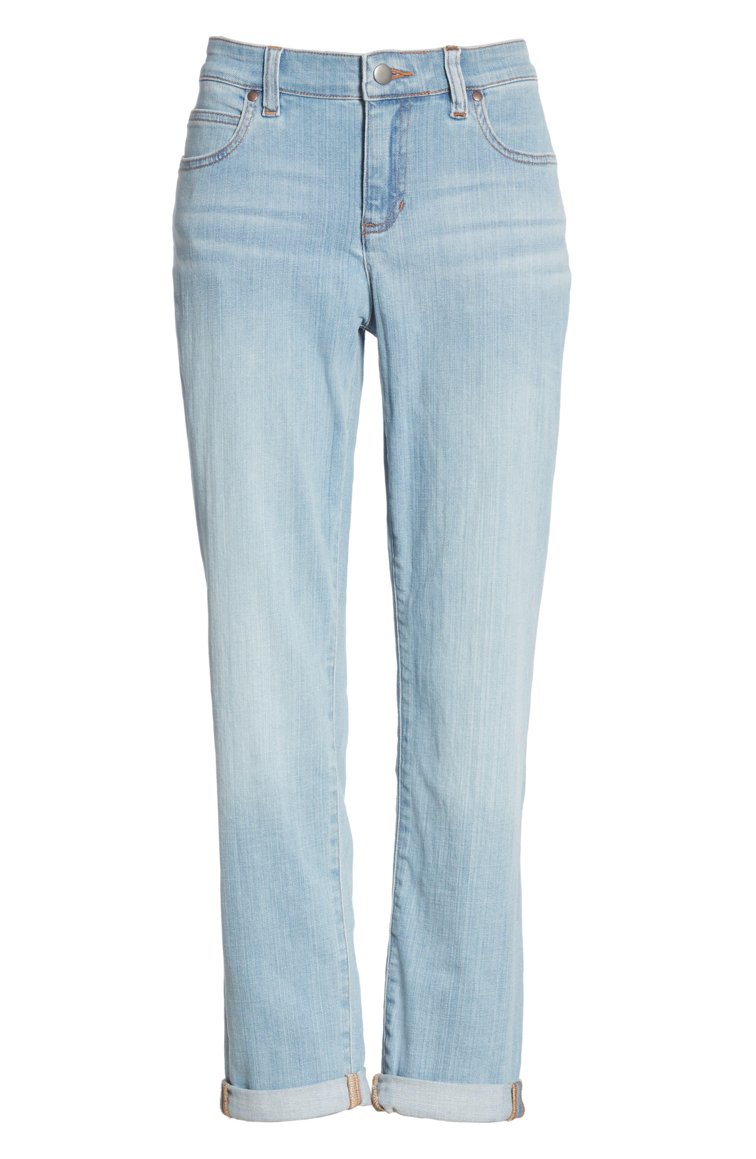 EILEEN FISHER, Organic Cotton Boyfriend Jeans, Alternate thumbnail 7, color, ICE BLUE