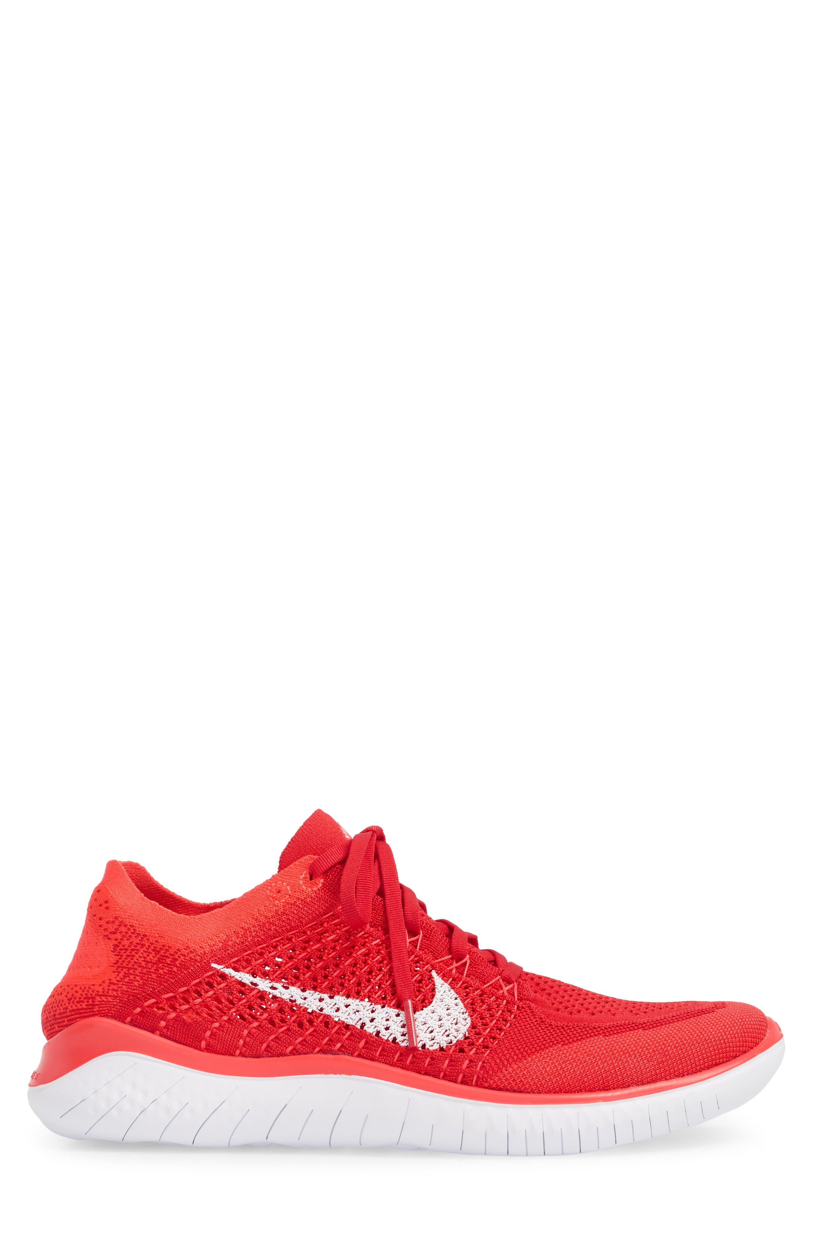 NIKE, Free RN Flyknit 2018 Running Shoe, Alternate thumbnail 3, color, UNIVERSITY RED/ WHITE/ CRIMSON