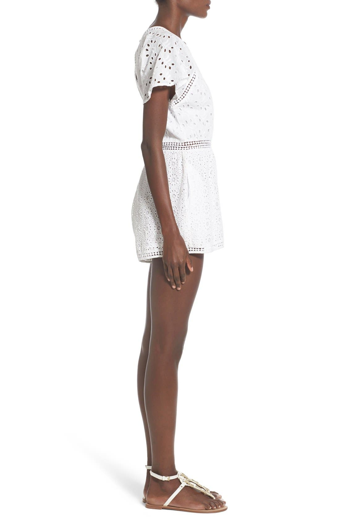 TULAROSA, 'Brynn' Embroidered Eyelet Romper, Alternate thumbnail 4, color, 100
