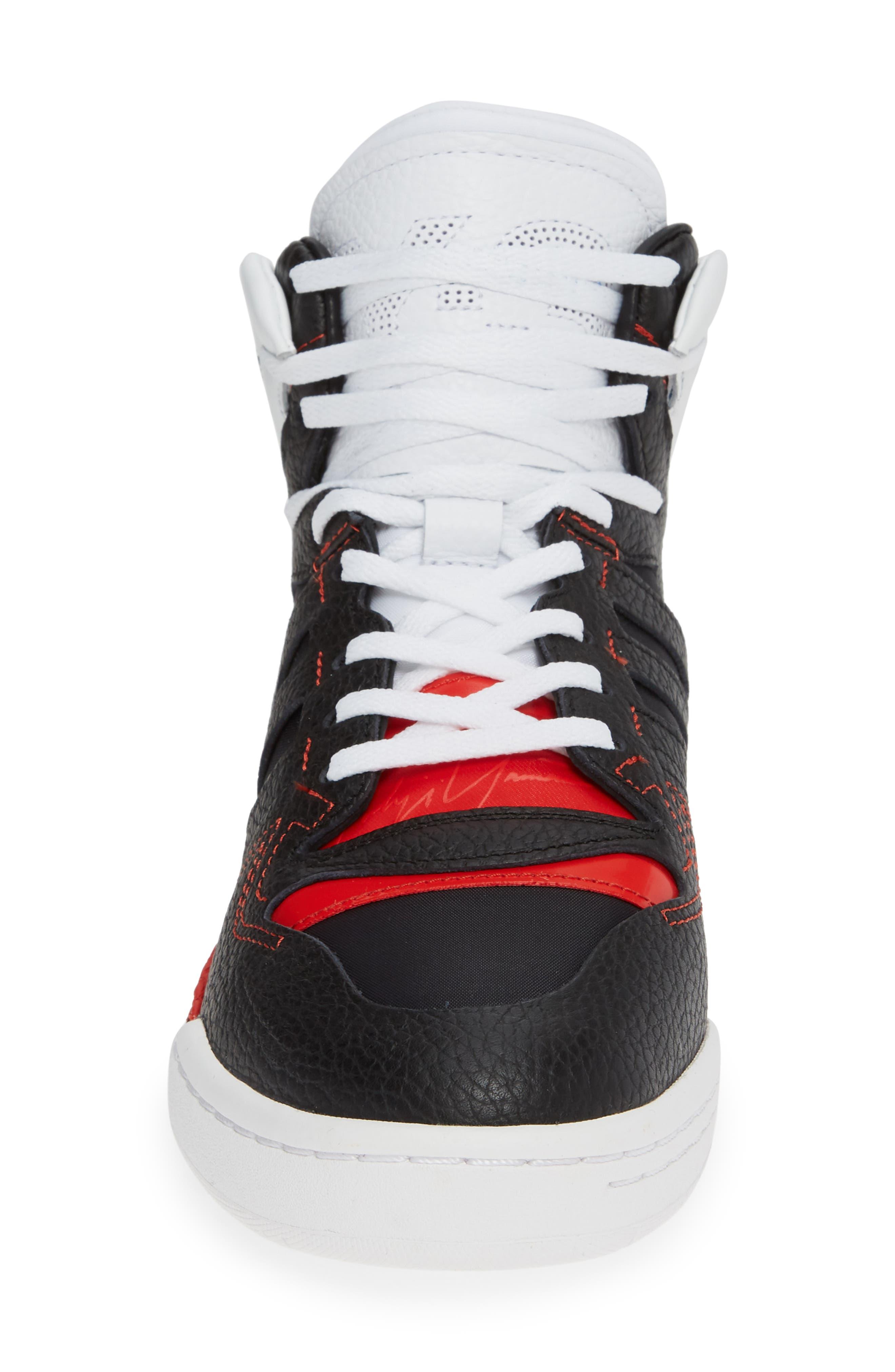 Y-3, x adidas Hayworth High Top Sneaker, Alternate thumbnail 4, color, BLACK/ BLACK/ RED