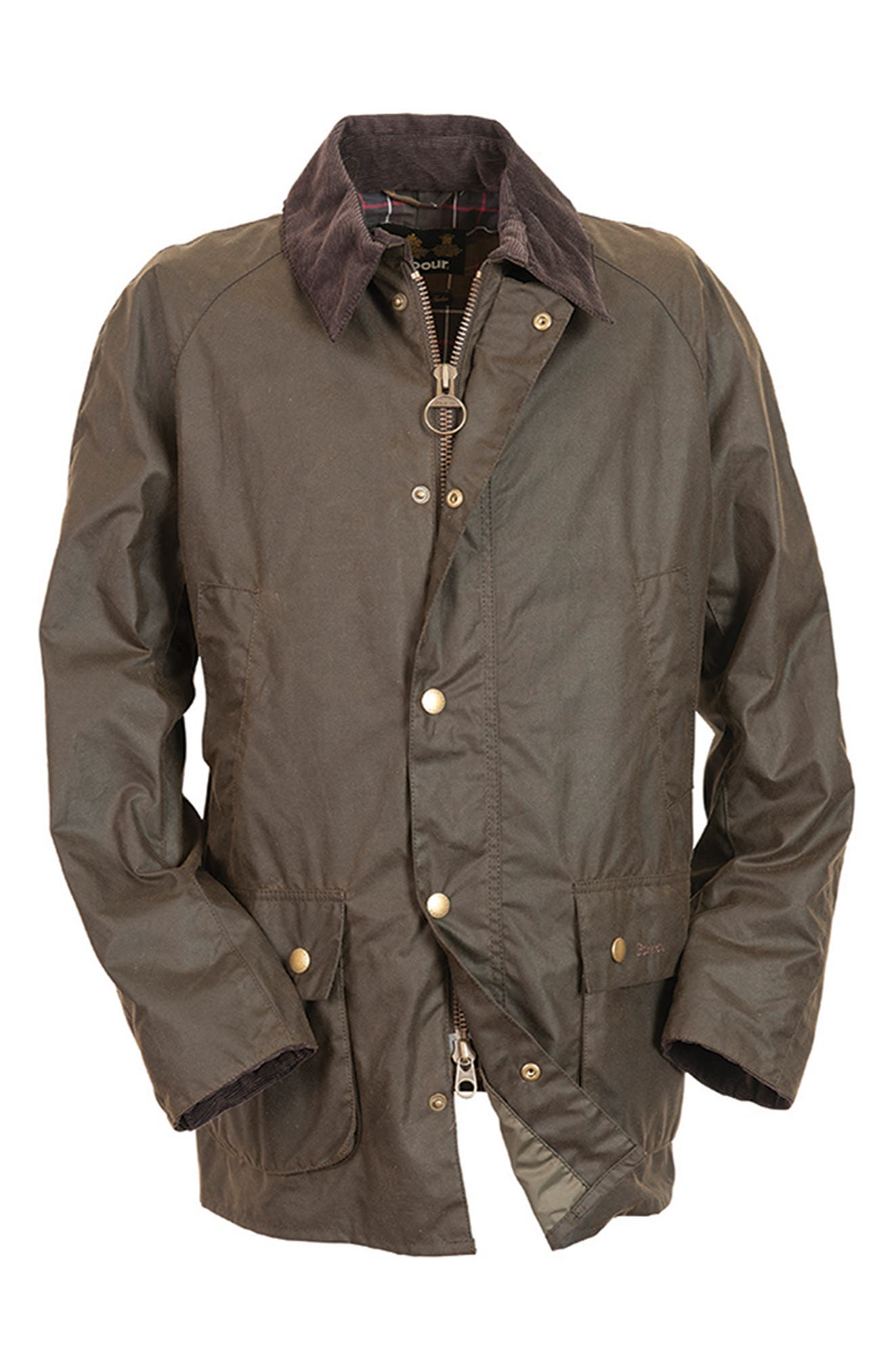 BARBOUR, Ashby Wax Jacket, Alternate thumbnail 12, color, OLIVE