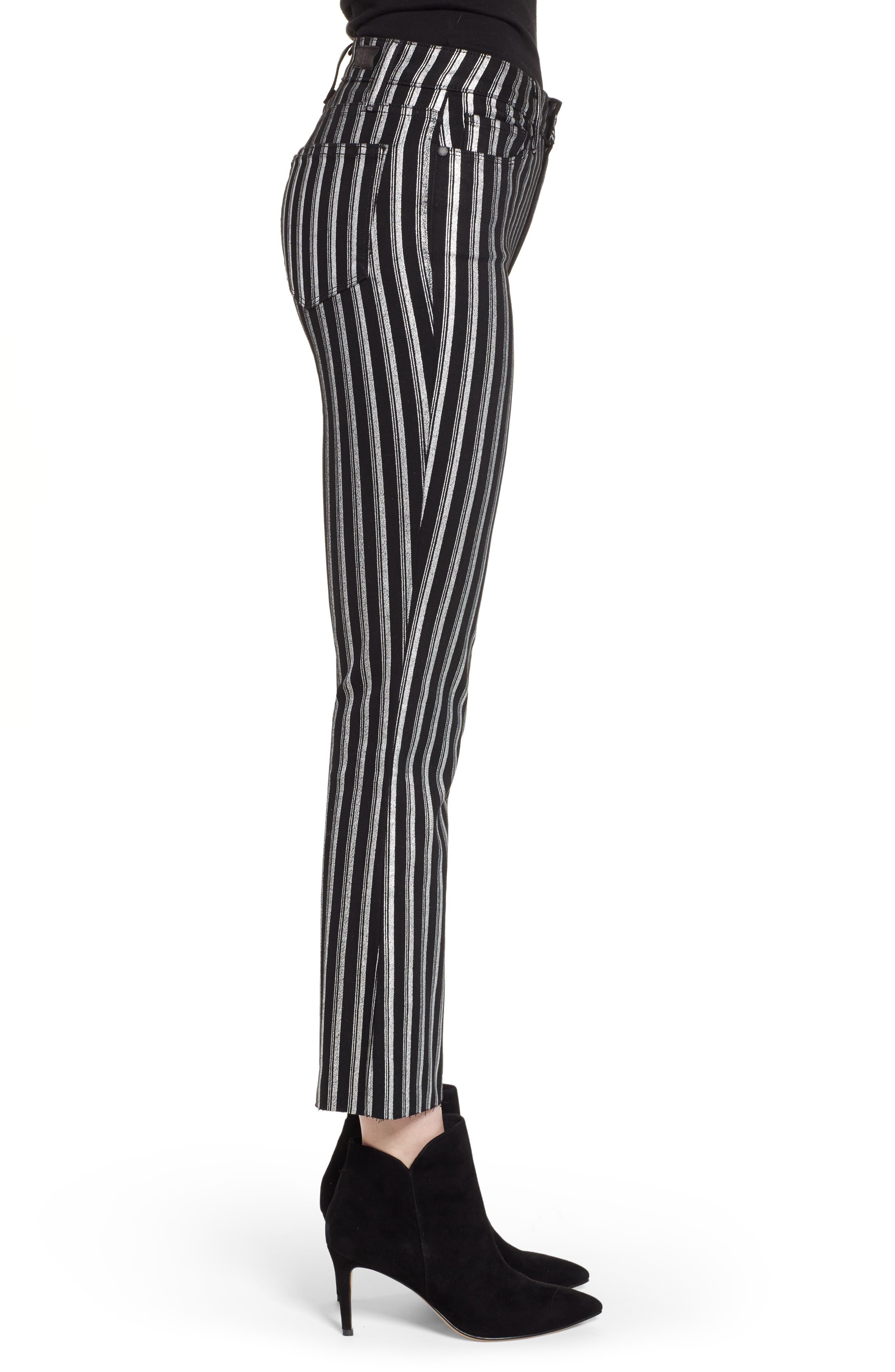 PAIGE, Colette High Waist Crop Flare Jeans, Alternate thumbnail 3, color, SILVER STRIPE