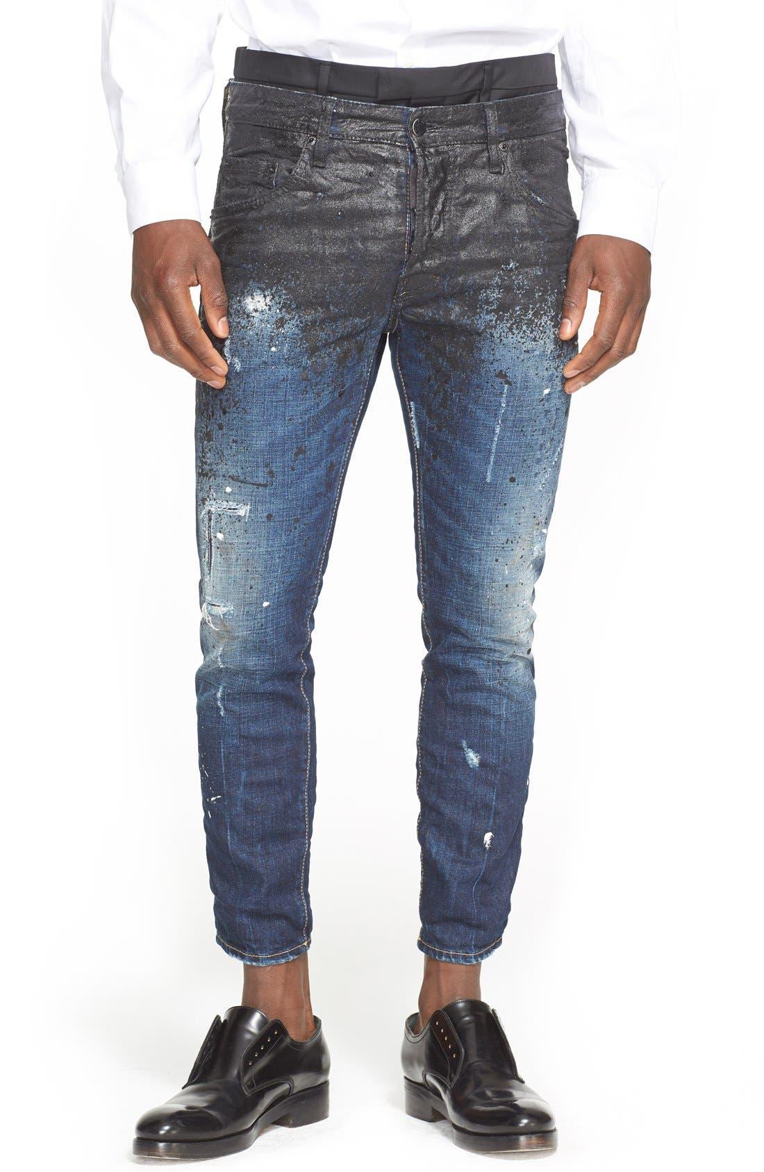 DSQUARED2, Skater Fit Double Waist Paint Splatter Jeans, Main thumbnail 1, color, 005