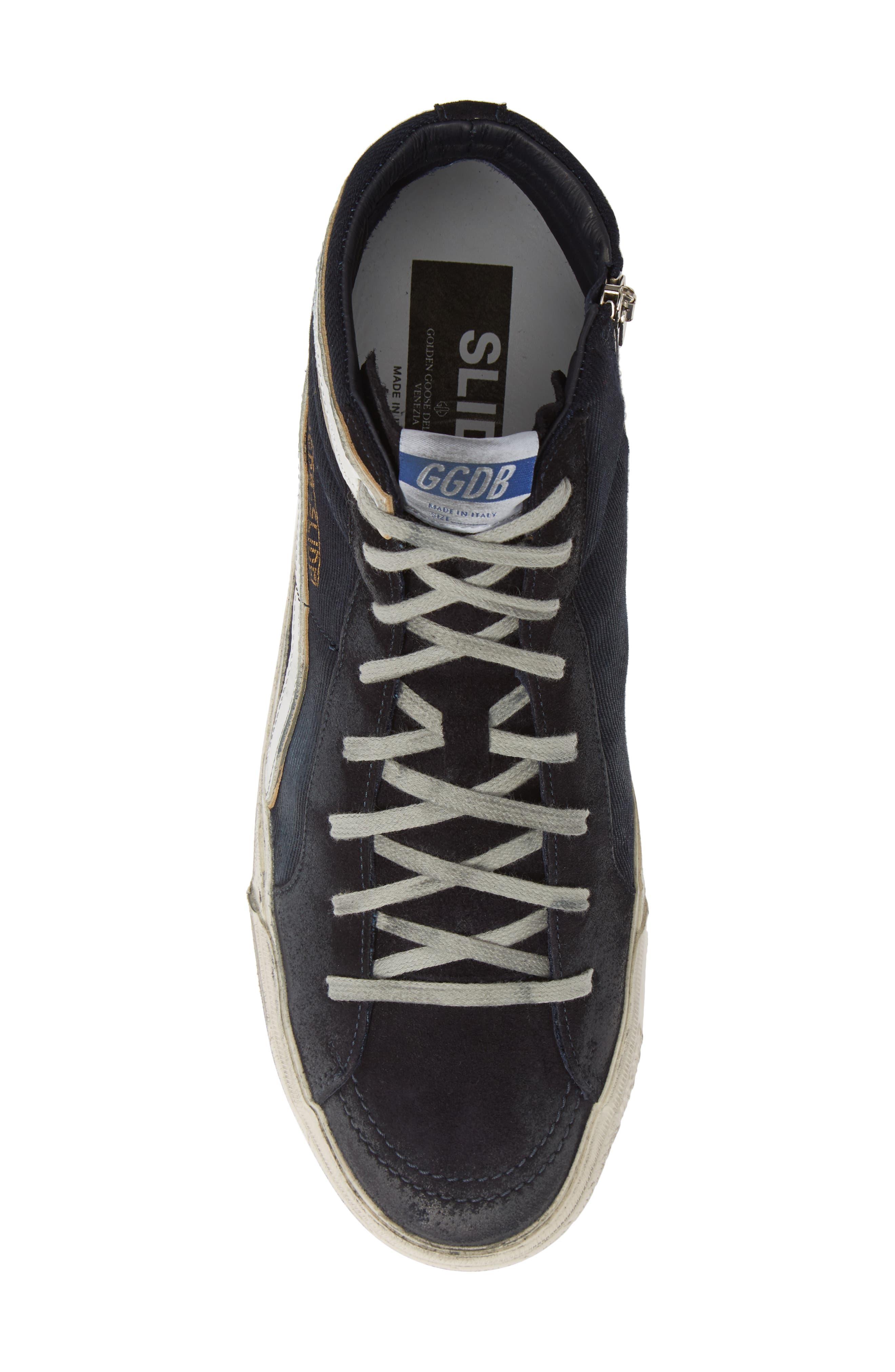 GOLDEN GOOSE, 'Slide' Sneaker, Alternate thumbnail 5, color, NAVY DENIM