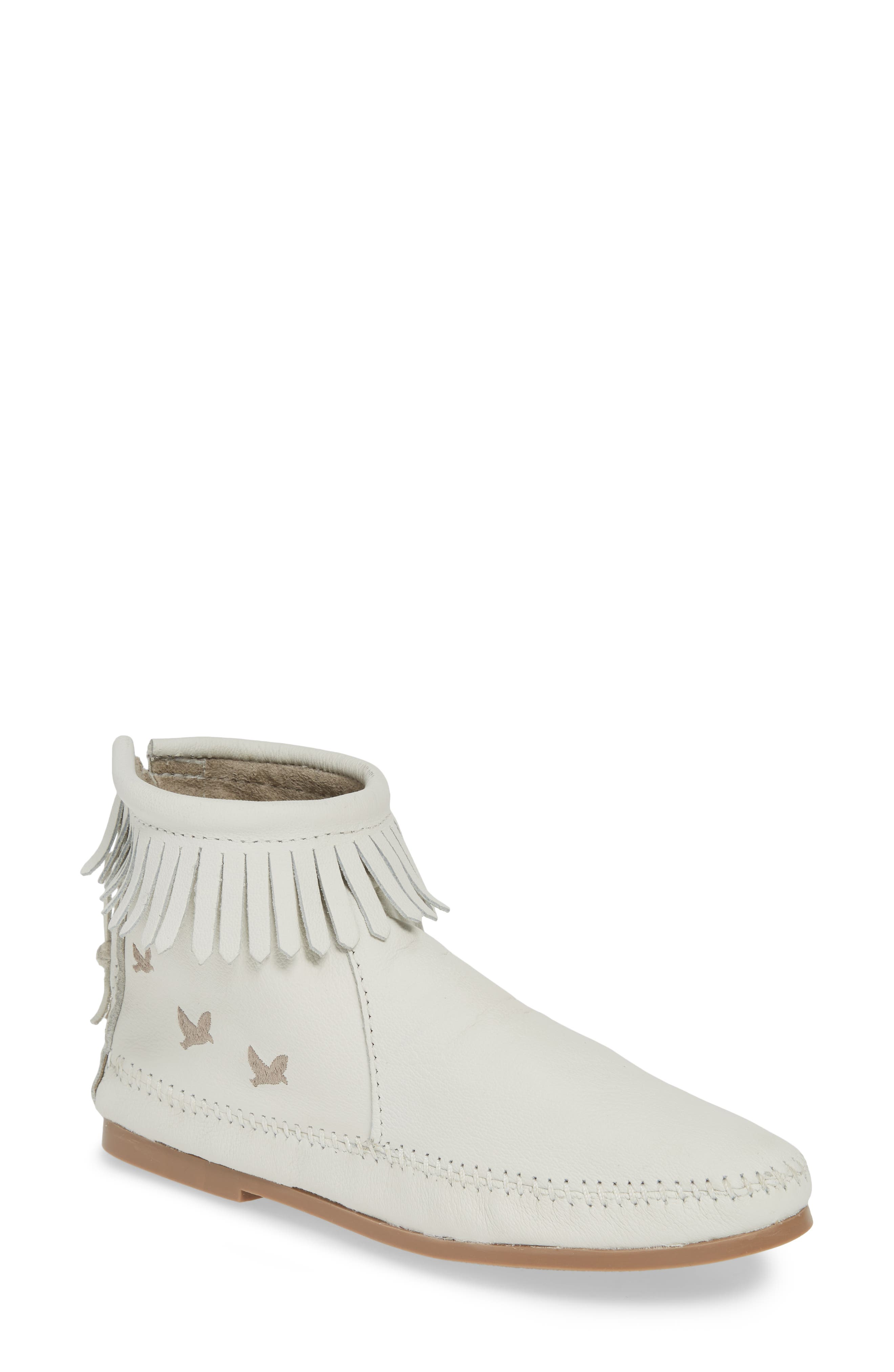 MINNETONKA, x Lottie Moss Lauryn Fringe Bootie, Main thumbnail 1, color, WHITE LEATHER