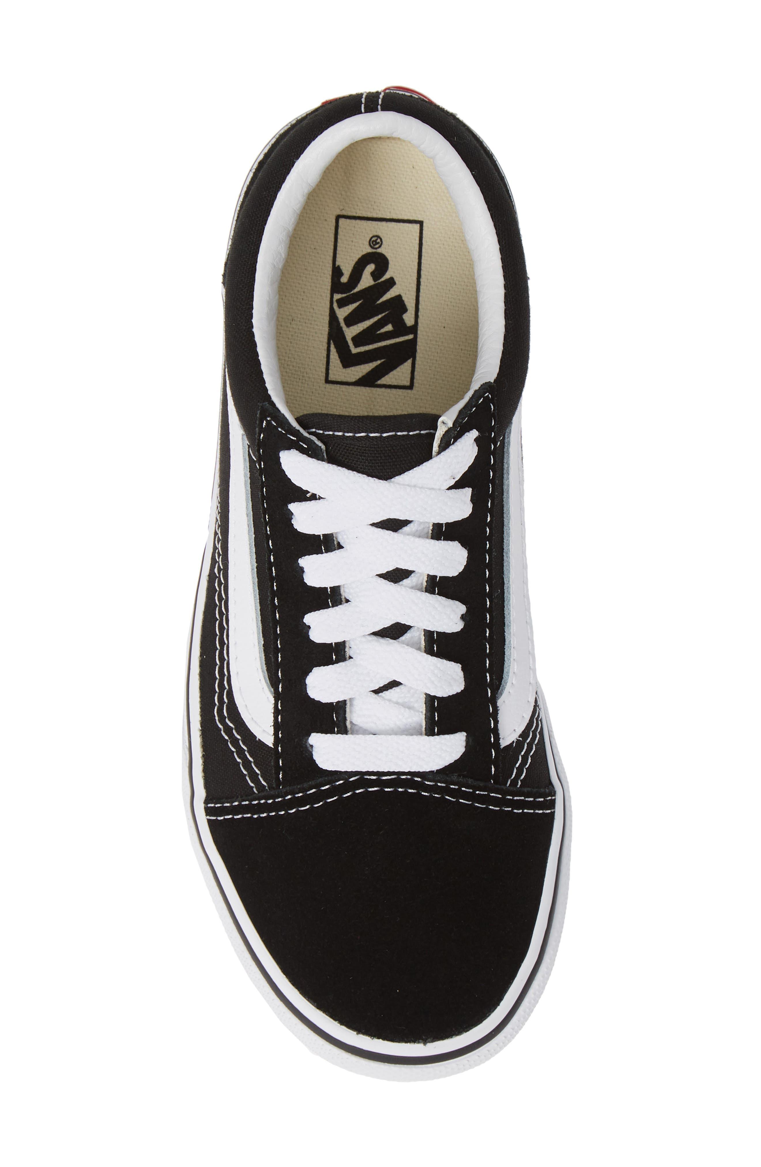 VANS, Old Skool Platform Sneaker, Alternate thumbnail 5, color, BLACK/ TRUE WHITE